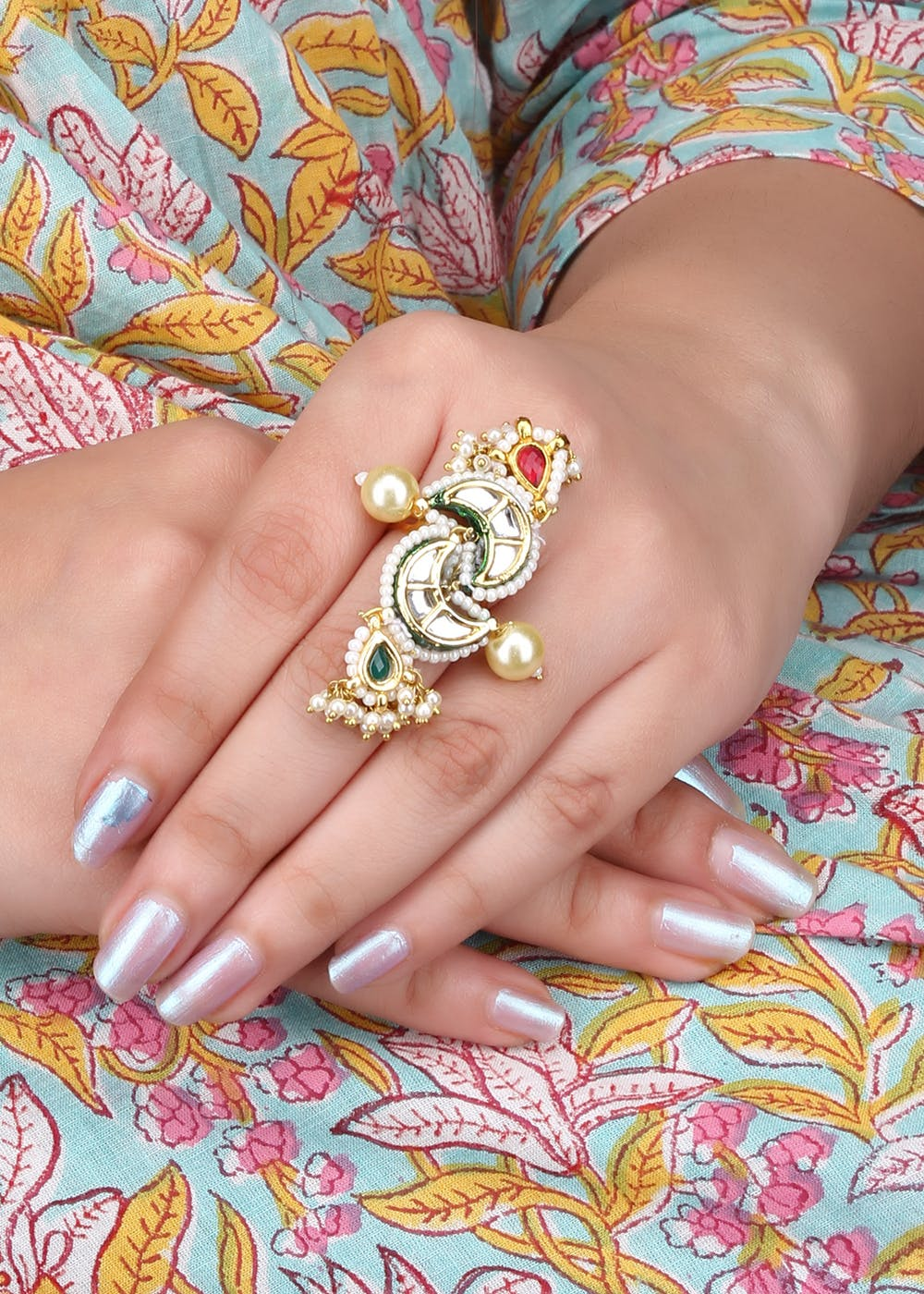 Pearl Embellished Chand Ring