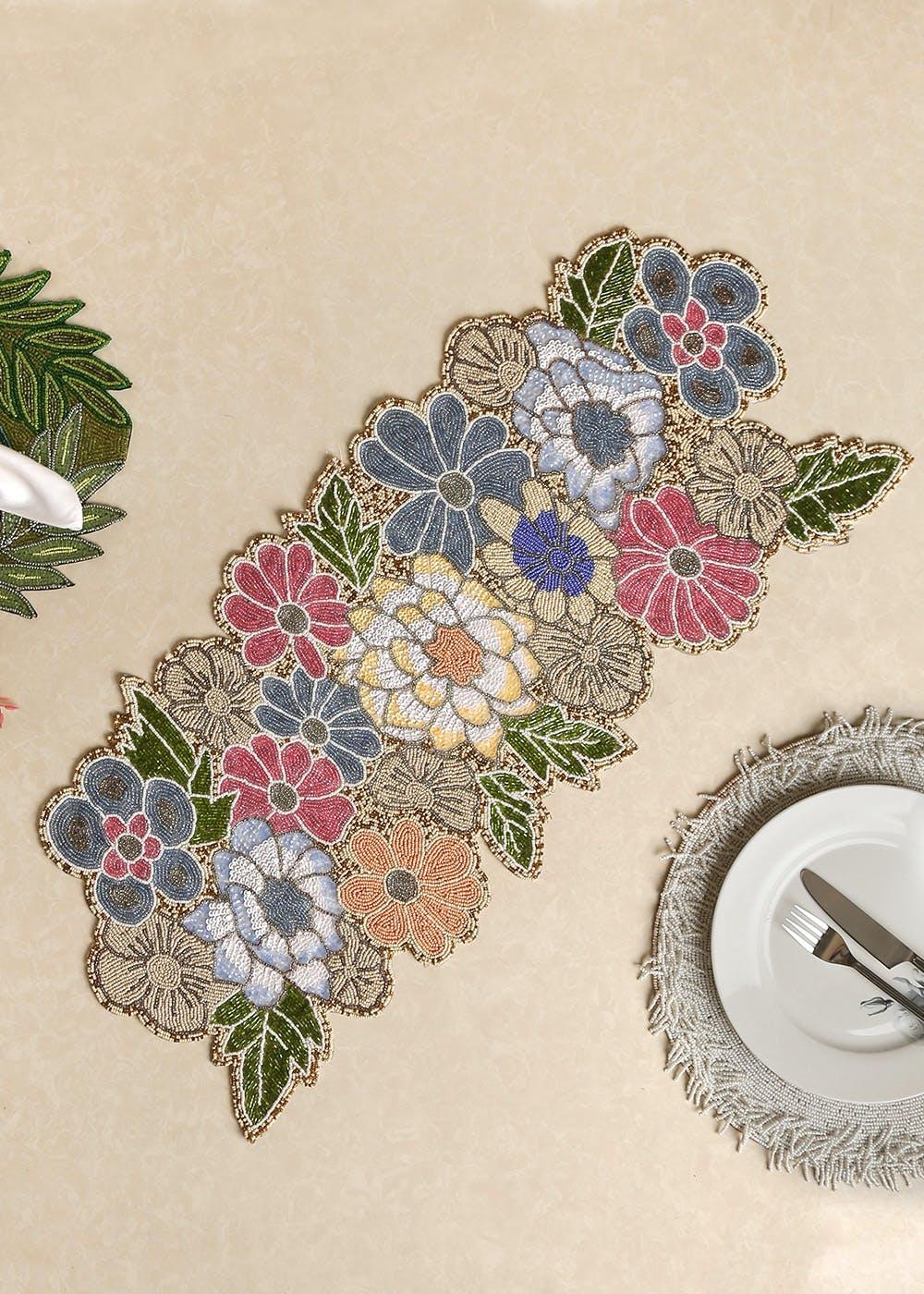 Multicoloured Beaded Floral Table Runner