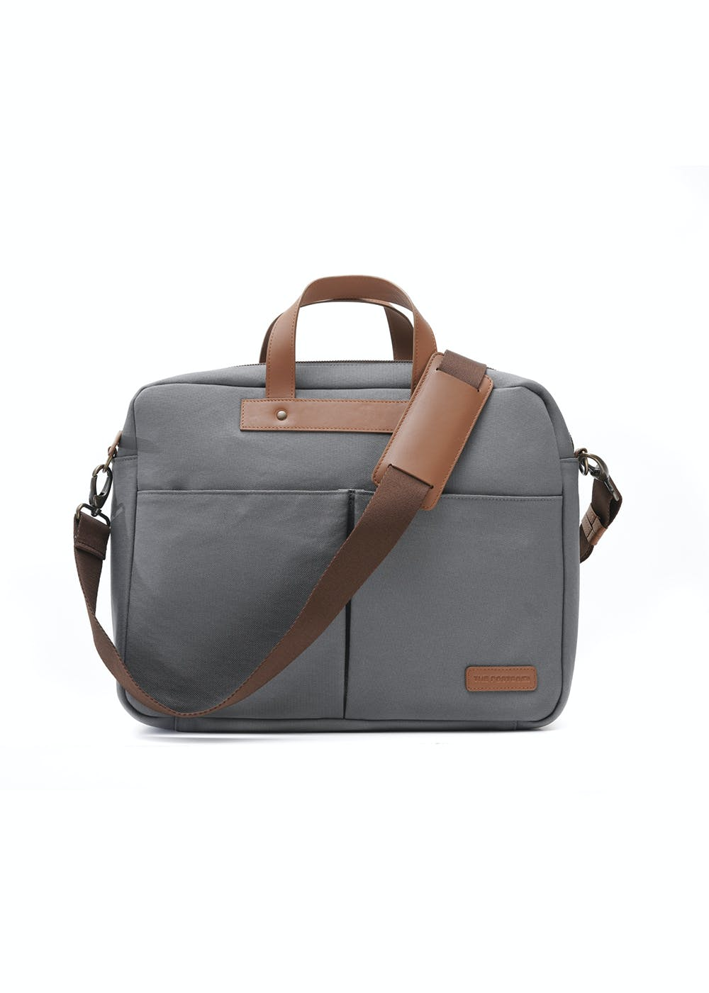 Front Zip & Cross Detail Solid Canvas Laptop Bag - Grey