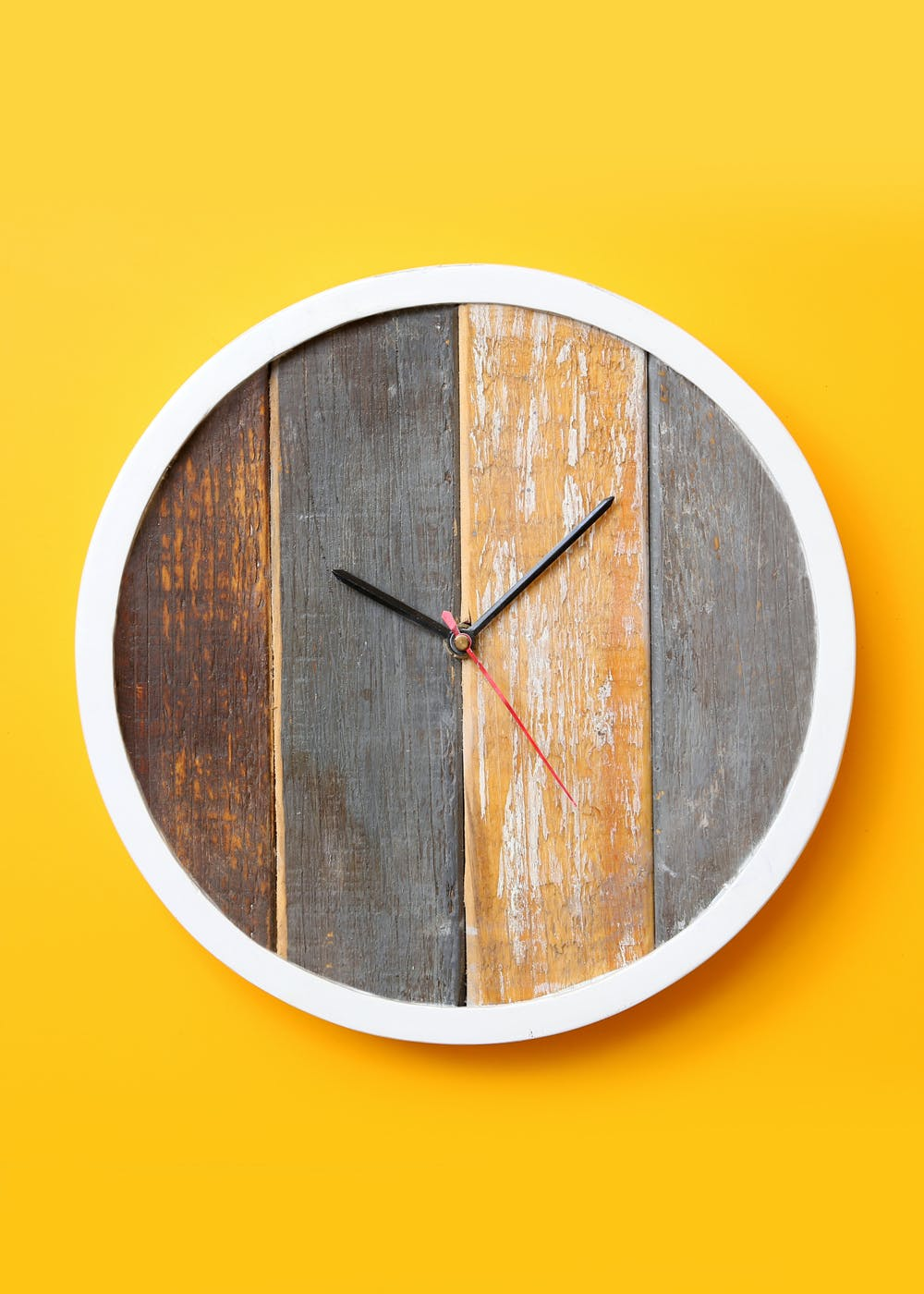 White Bordered Wooden Wall Clock