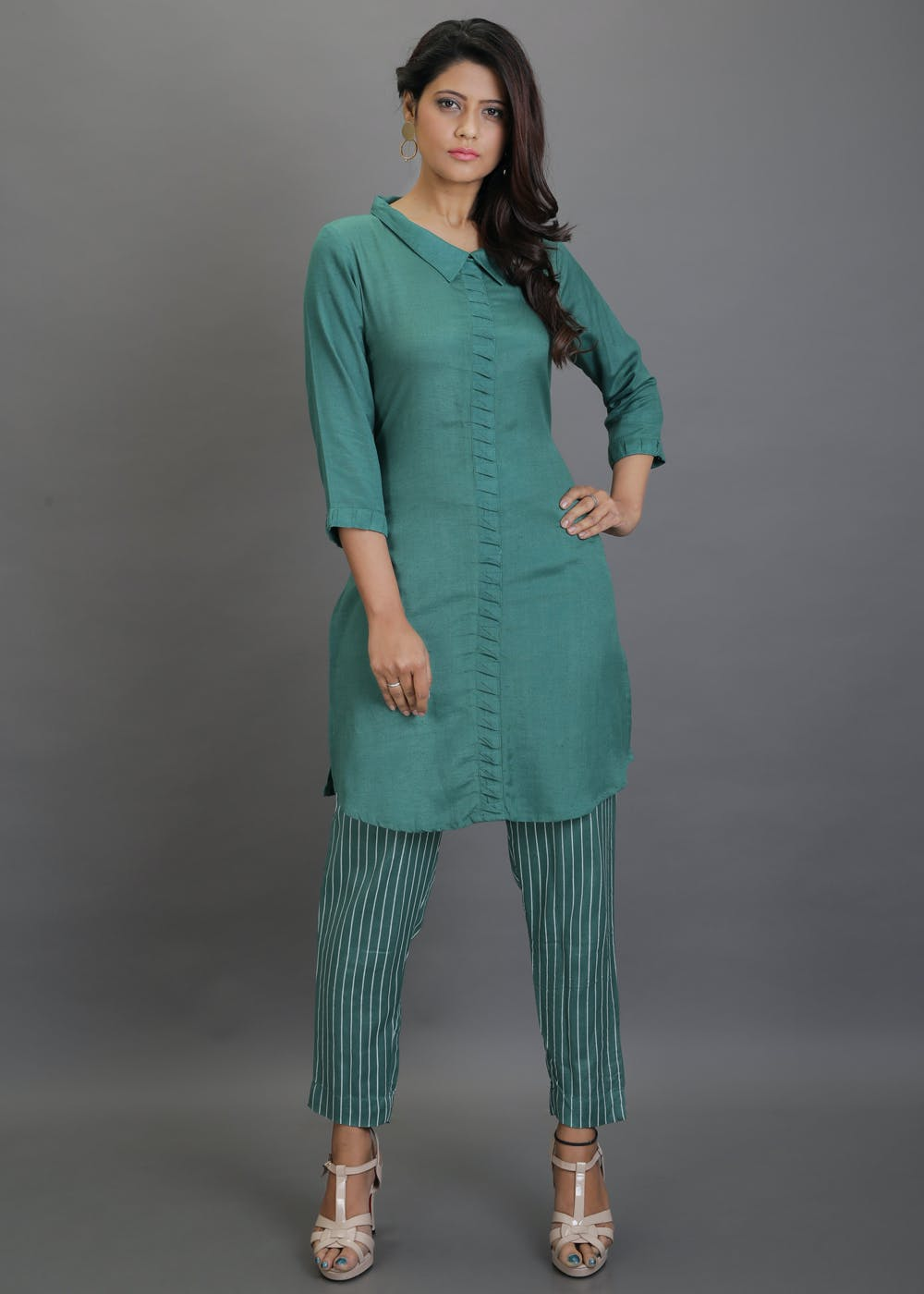 Ruffled Detail Short Kurta With Striped Pants Set - Green
