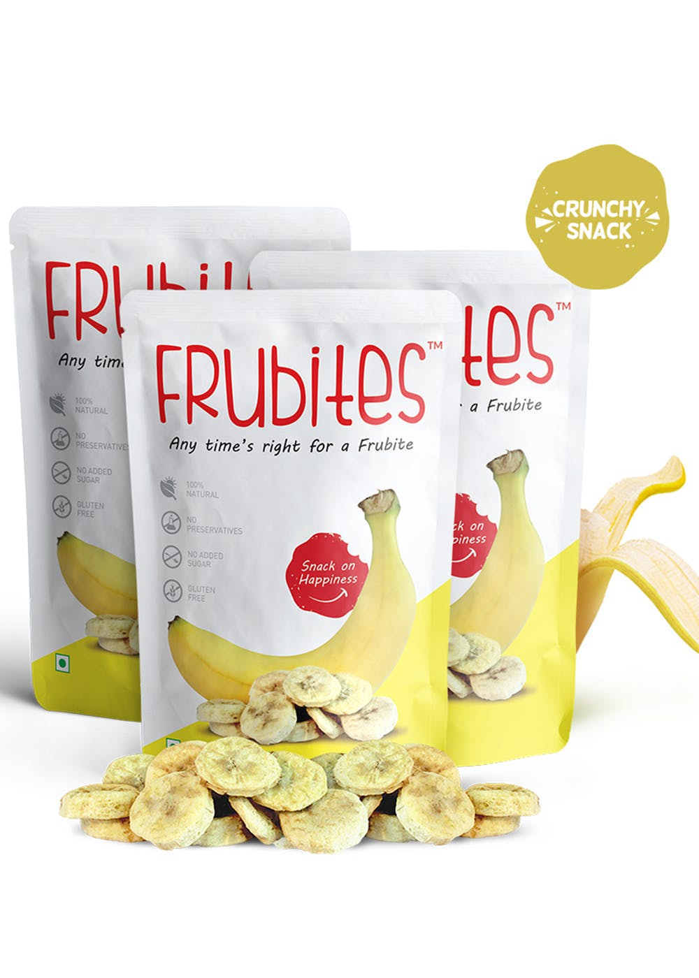 Freeze-Dried Crunchy Fruit Snack - 100% Pure Banana, 60gm (Pack of 3)