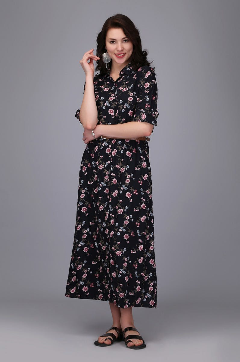 Black Floral Midi Shirt Dress