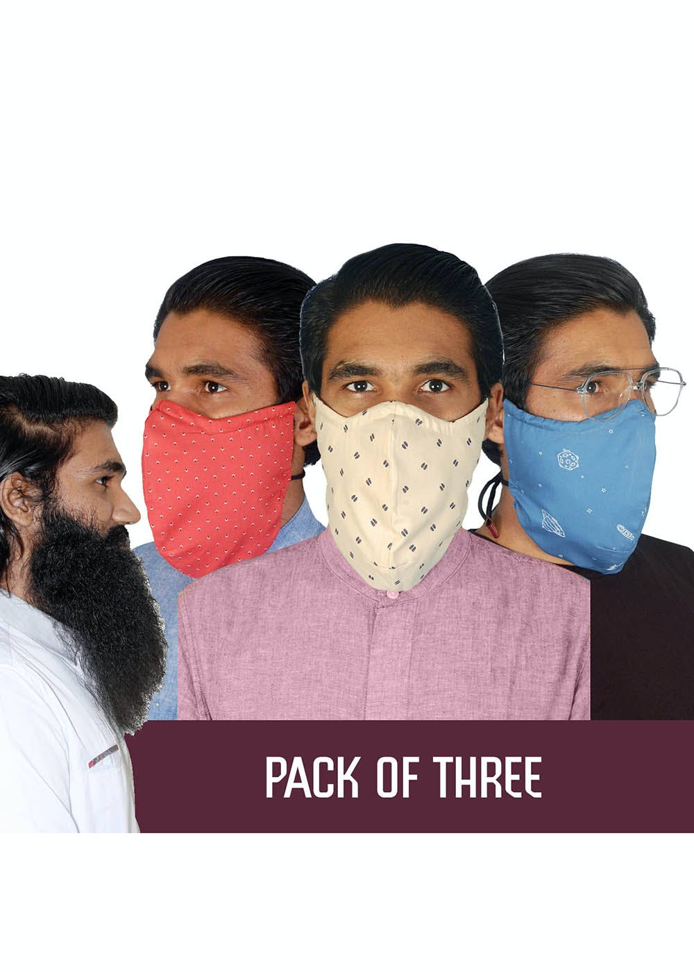 Cotton Reusable Face Mask For The Bearded Men - Pack Of 3 (Bindu Re Bindu, Gimme Space & Paaduks)
