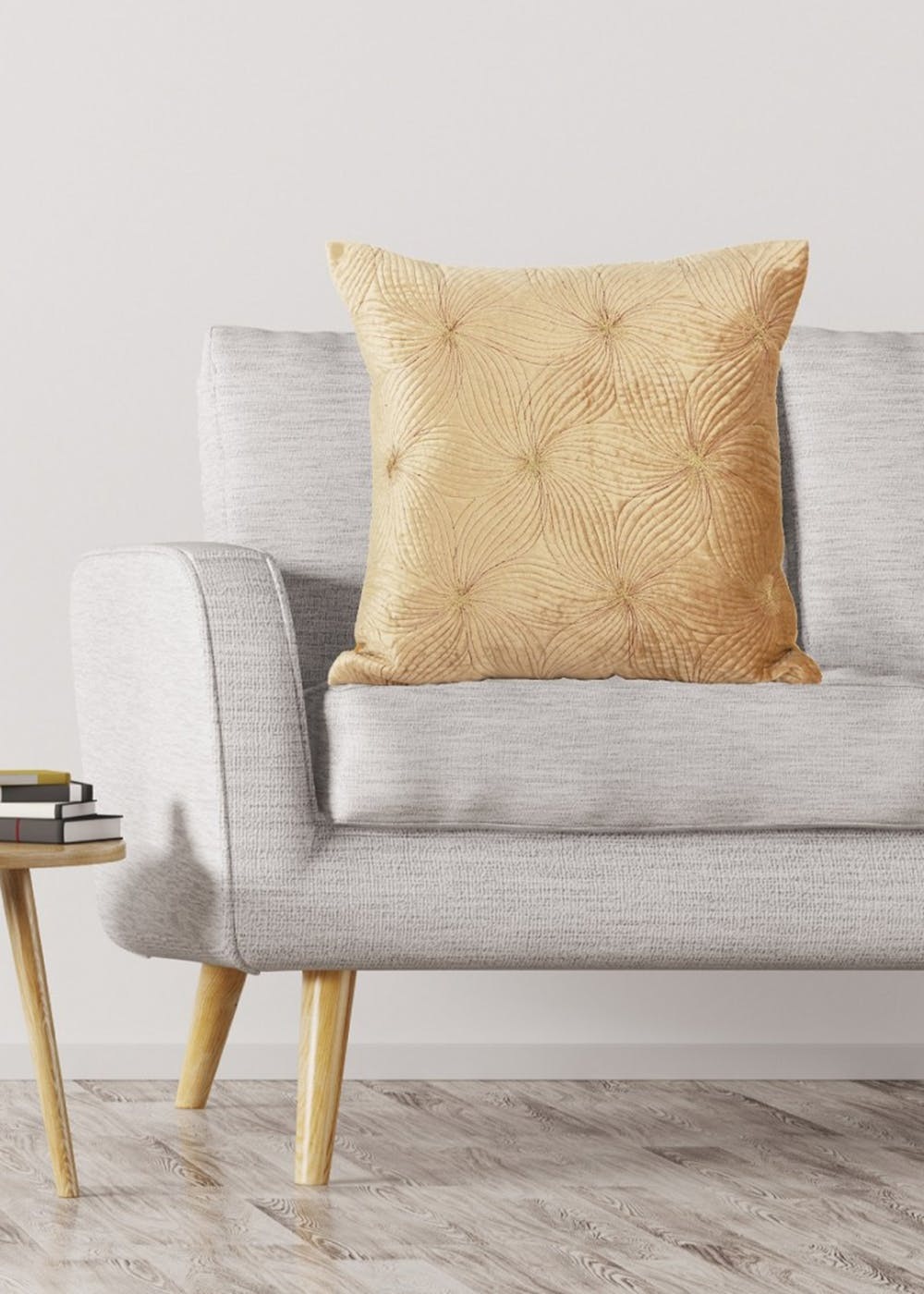 Velvet Opulence Cushion Cover with Embroidery - Golden -18X18 Inch