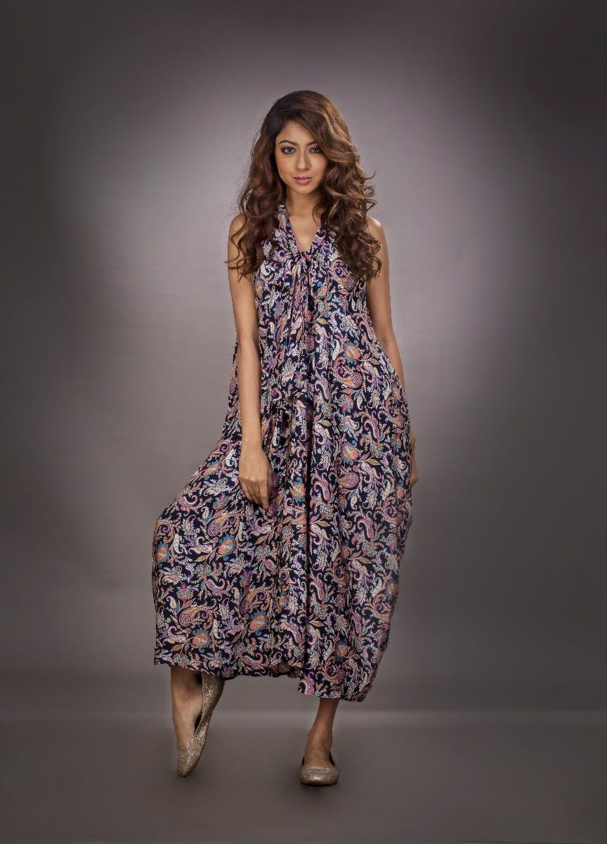Knotted Printed Maxi Dress