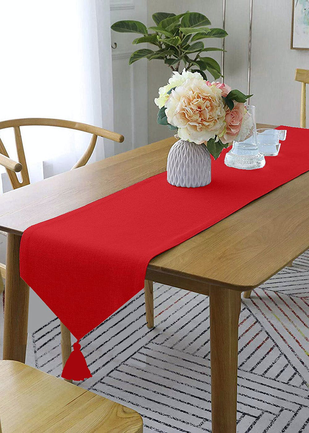 Red Table Runner With Yellow Contrasting Cord