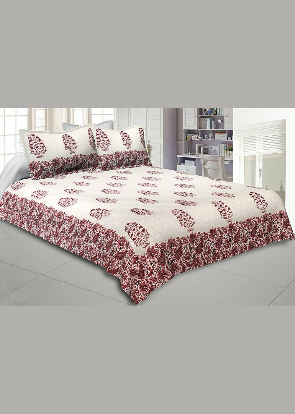 Purple Gamla Hand Block Print Double Bedsheet