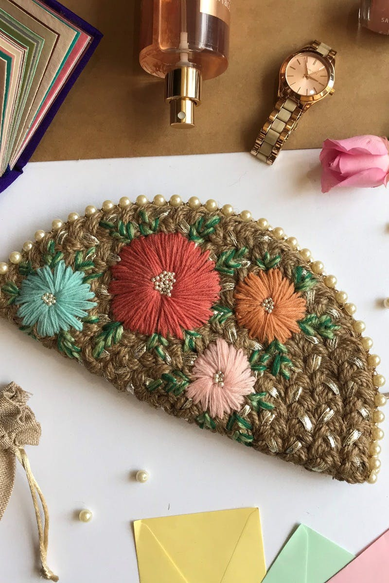 Handcrafted Embroidered Flowers Gota Jute Half Moon Clutch