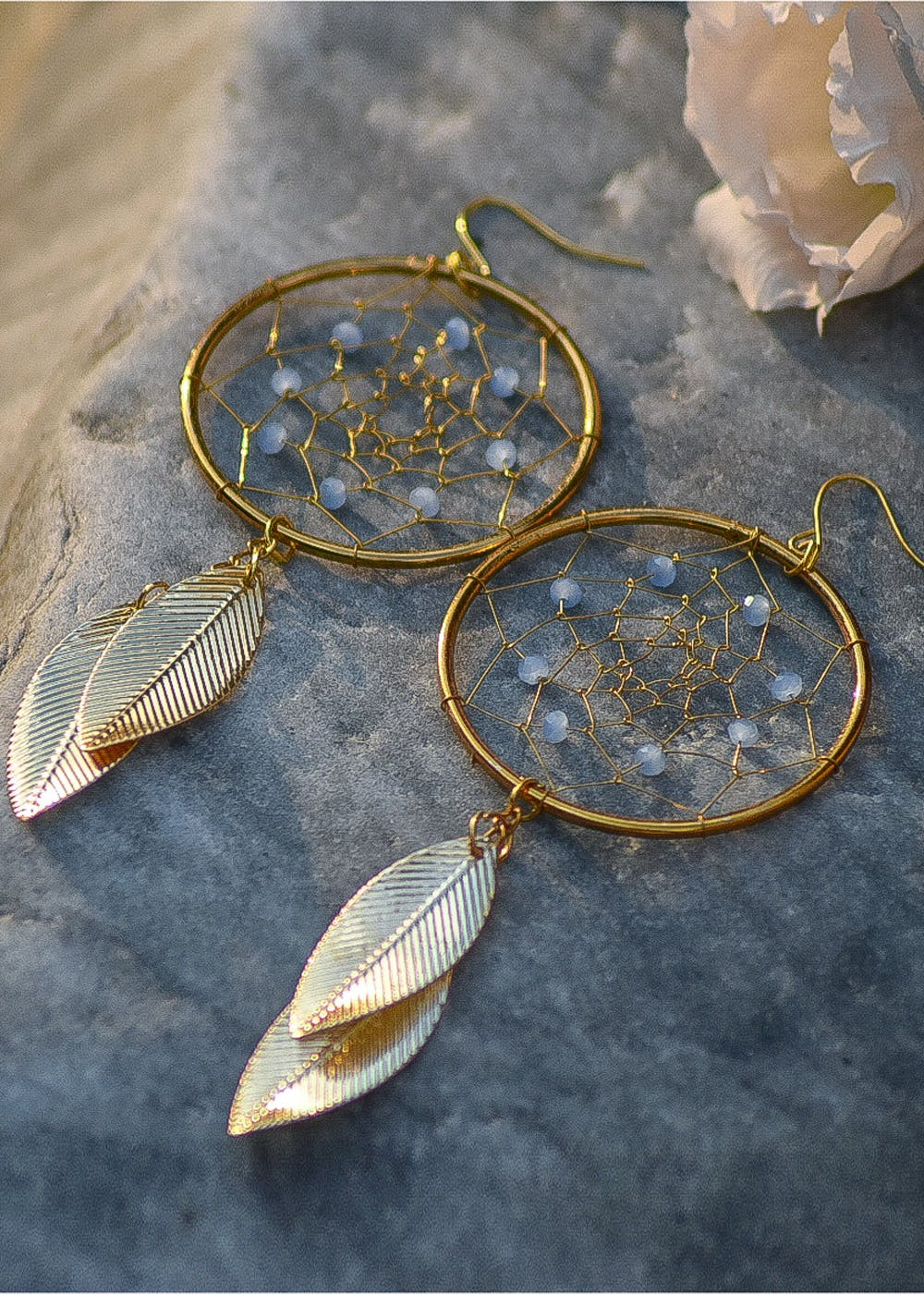 Solid Coloured Bead Detail Dreamcatcher Earrings - Blue