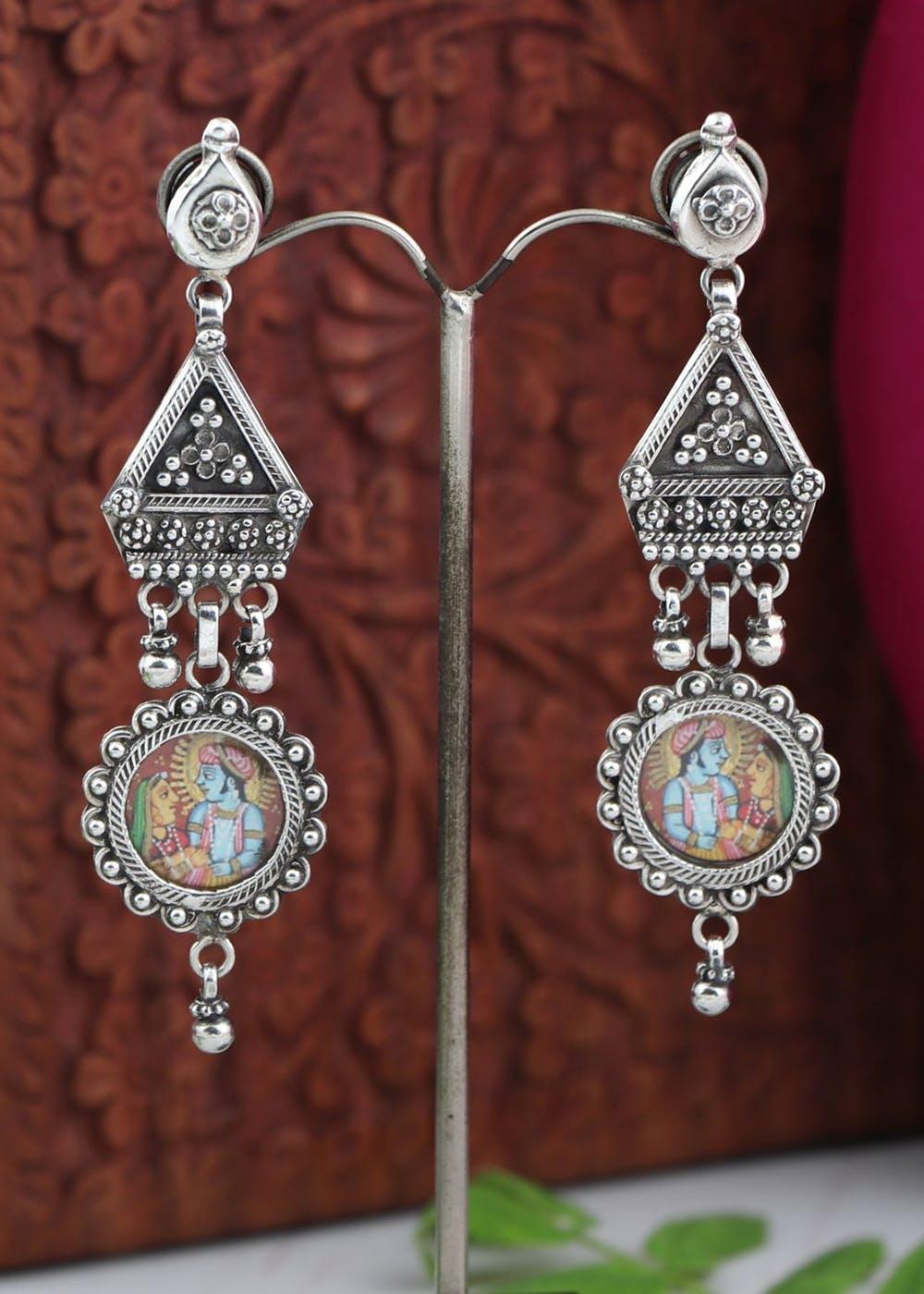 """Tribal """"Radha Krishna"""" Triangle Earrings"""