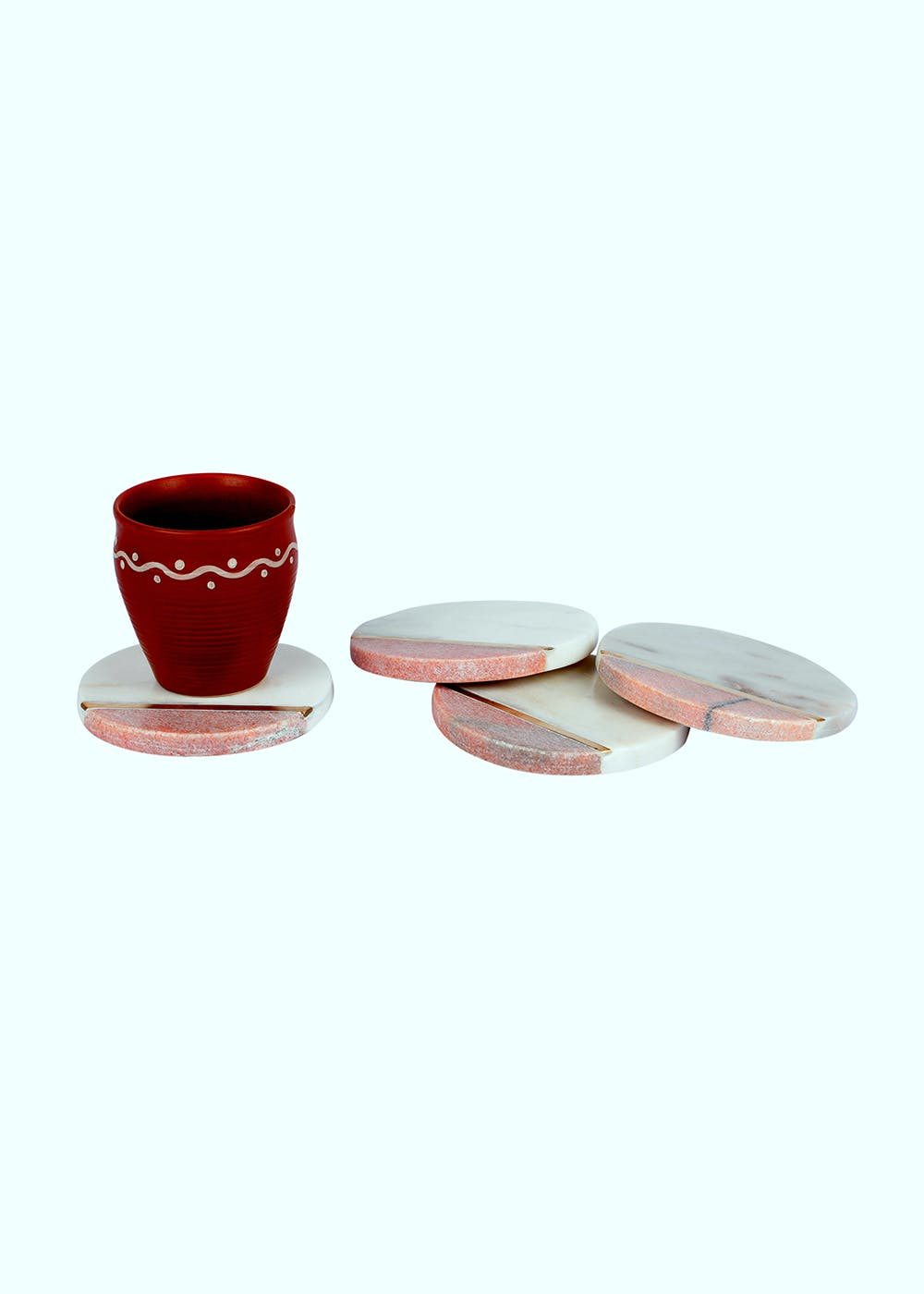 White & Pink Round Table Coasters- Set of 4