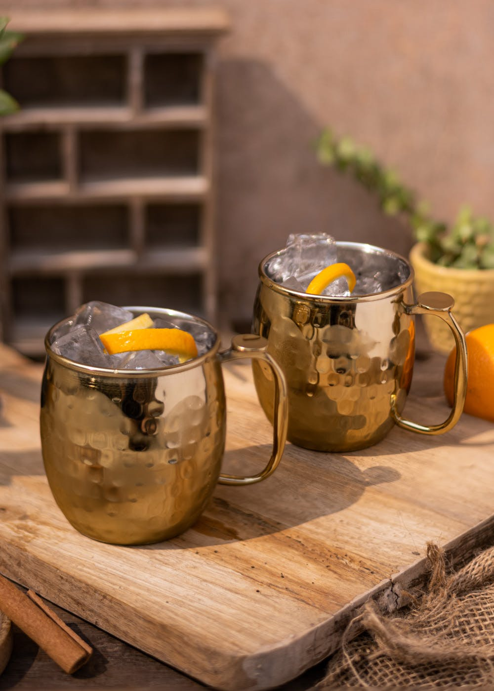 Gold Hammered Moscow Mule Mugs - Set of 2