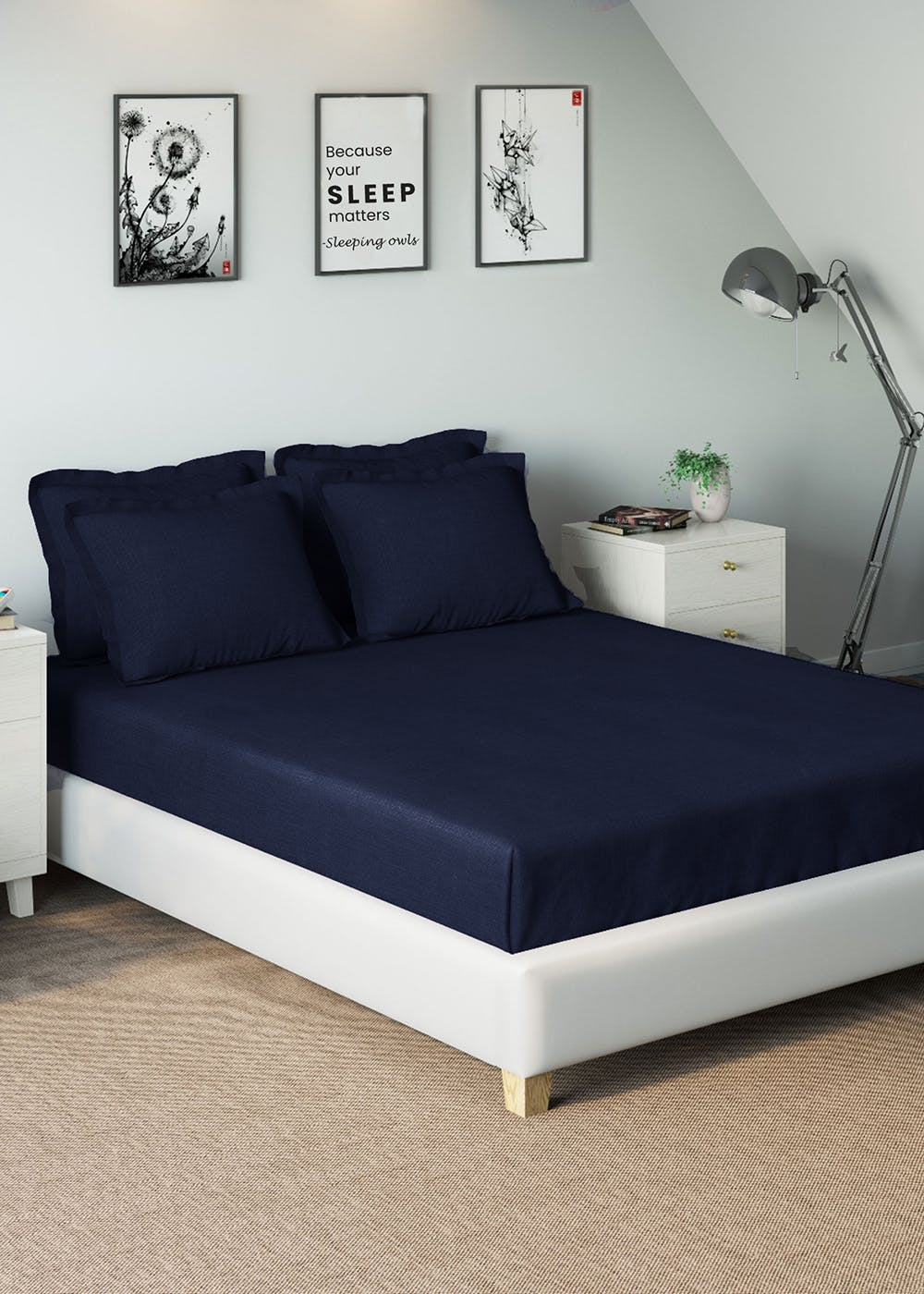 Solid 100% Cotton Super King Bedsheet with 2 Pillow Covers - Navy