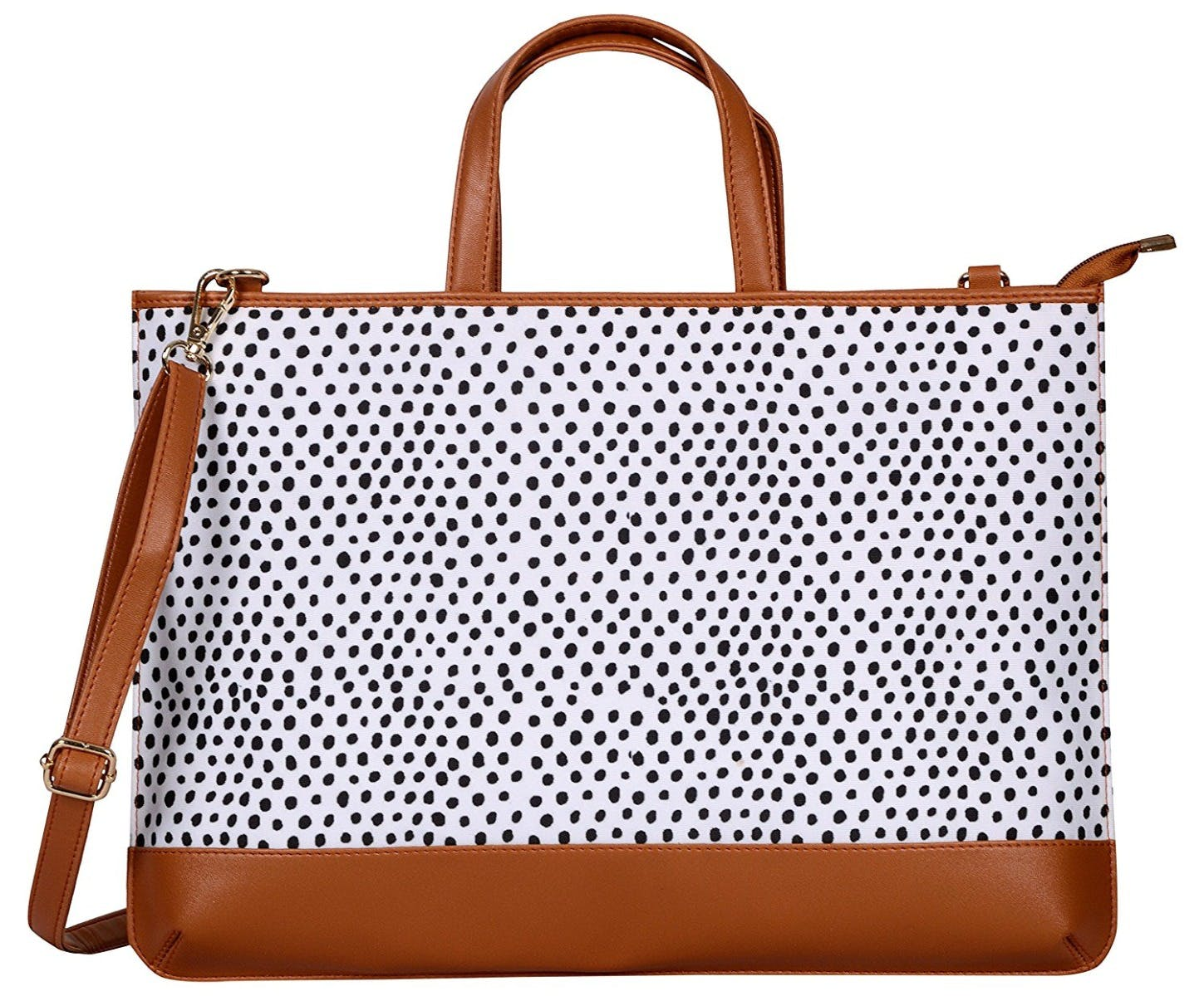 Polka Print Laptop Bag - Tan