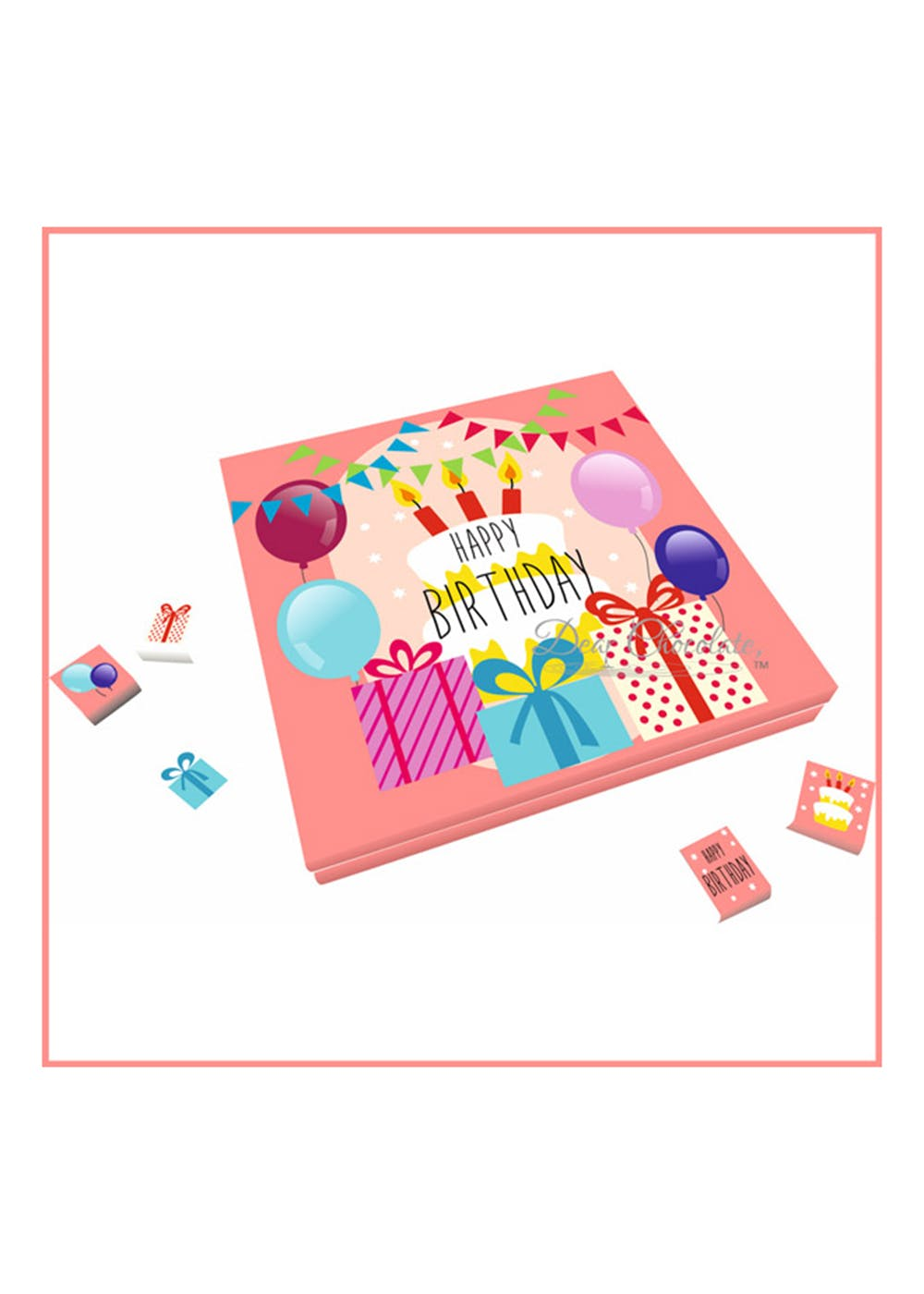 Happy Birthday Assorted Chocolate Gift Box of 25 pieces (Pink)