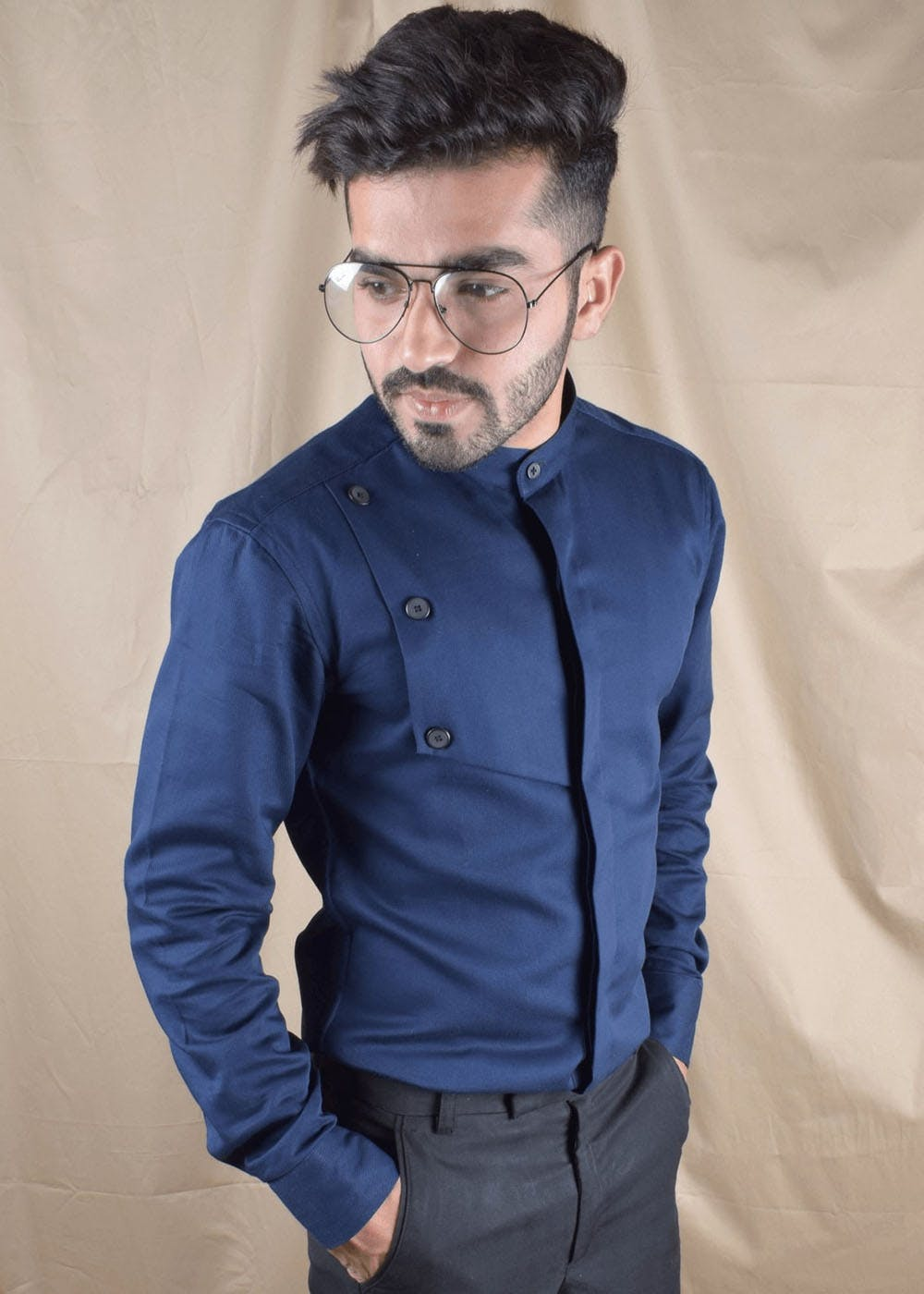 Overlap Detail Concealed Buttons Navy Shirt
