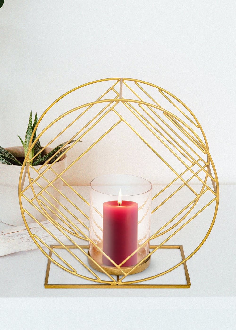 Candle Stand Circular And Square Pattern With Glass