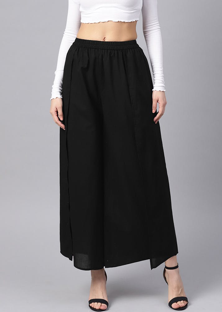 Solid Pleated Overlay Cotton Palazzo - Black