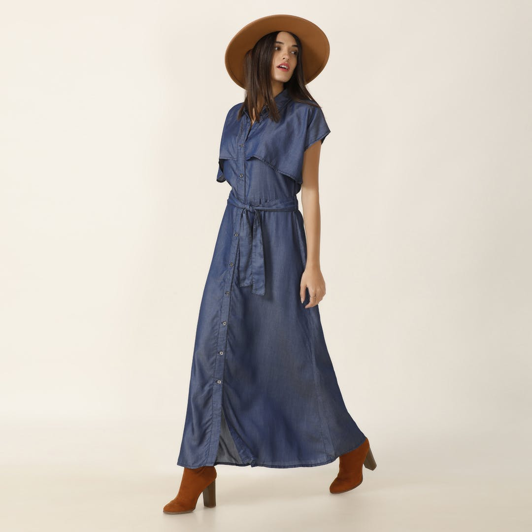 Denim Trench Maxi Dress