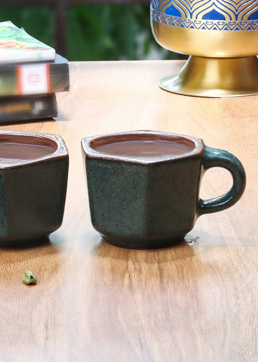 Studio Pottery Bottle Green Hexagon Shaped Cups From Pondicherry