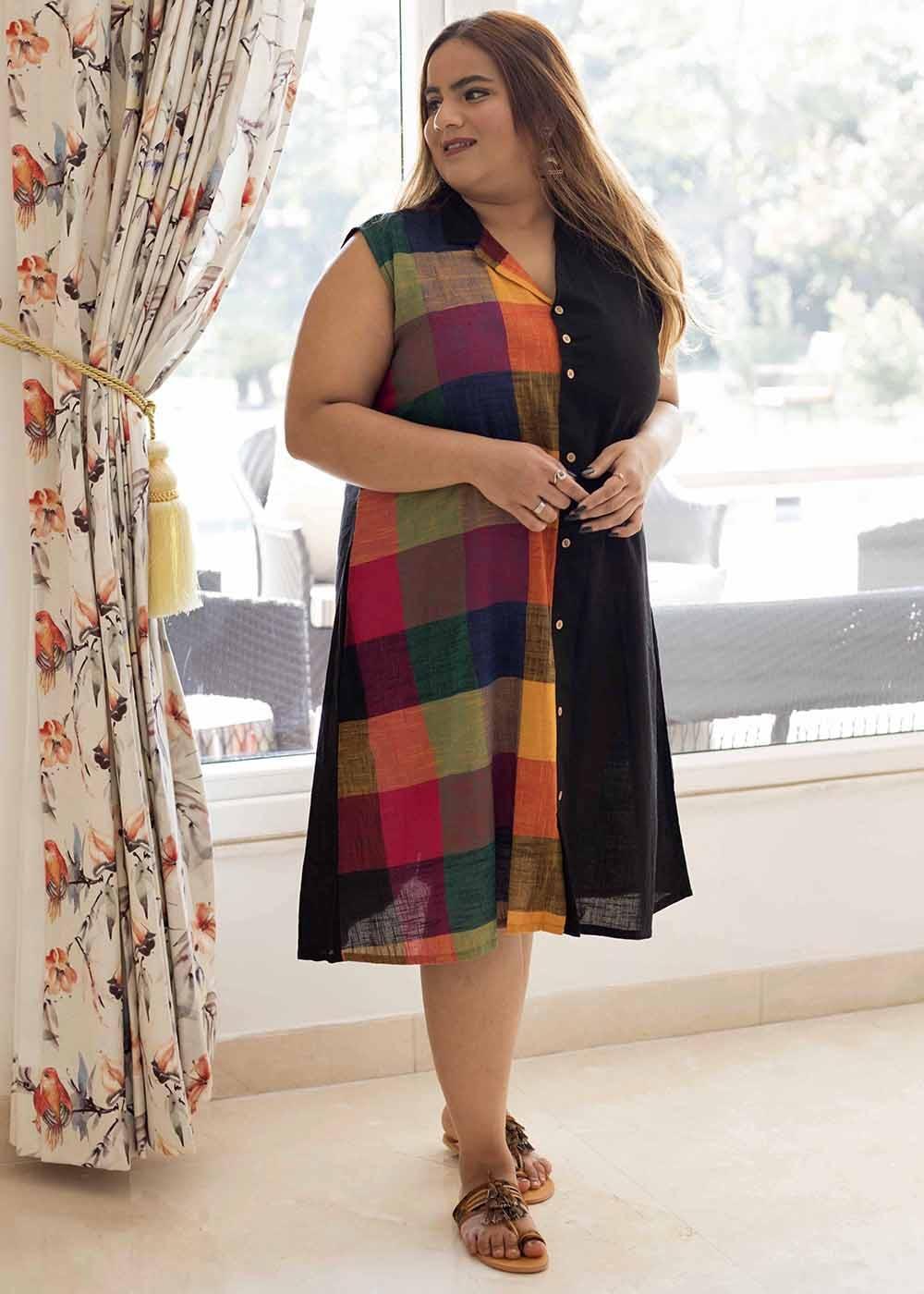 Half Madras Checkered Sleeveless Shirt Dress
