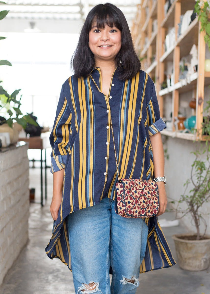 Yellow & Blue Striped High-Low Shirt