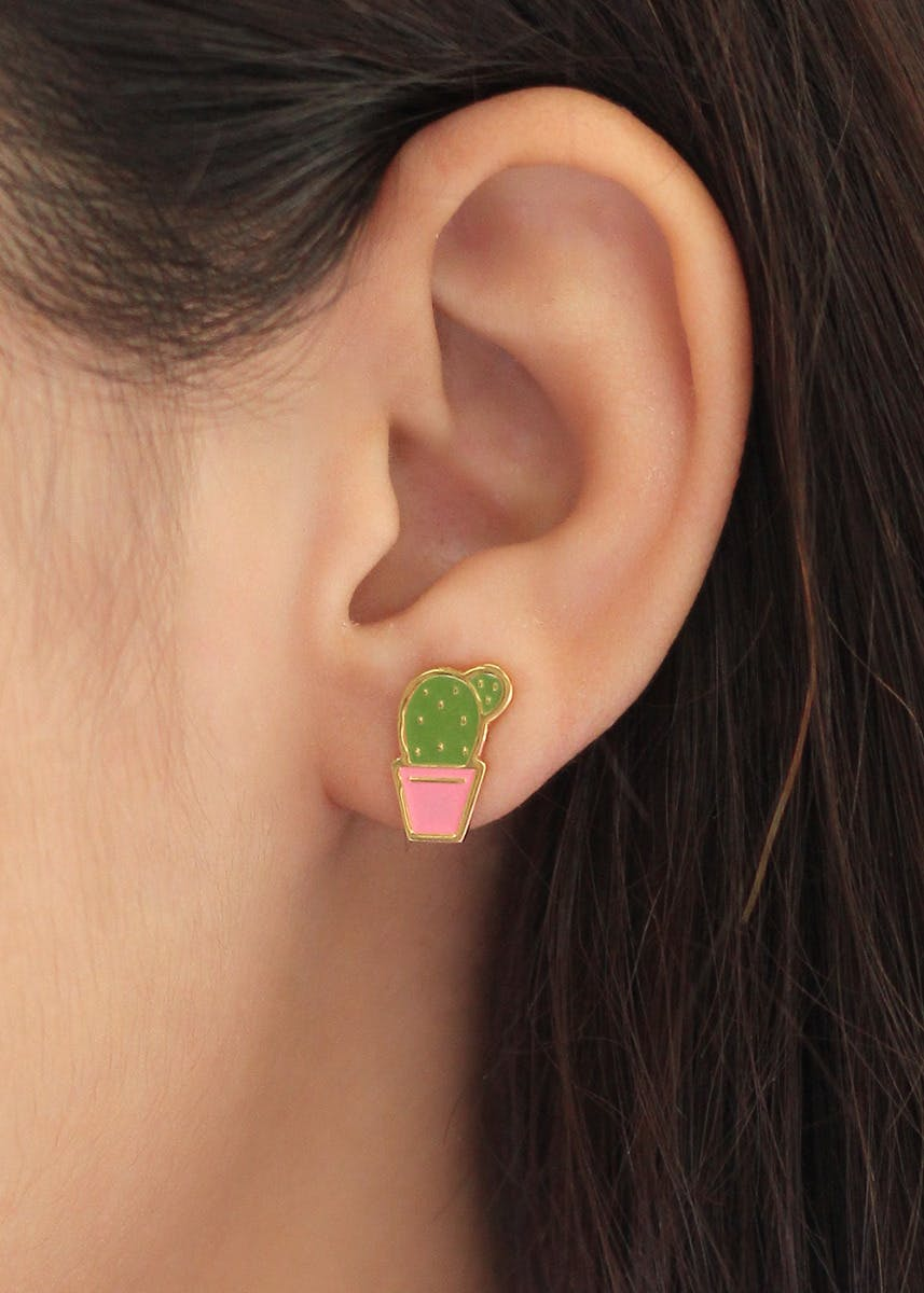 Gold Plated Potted Cactus Studs