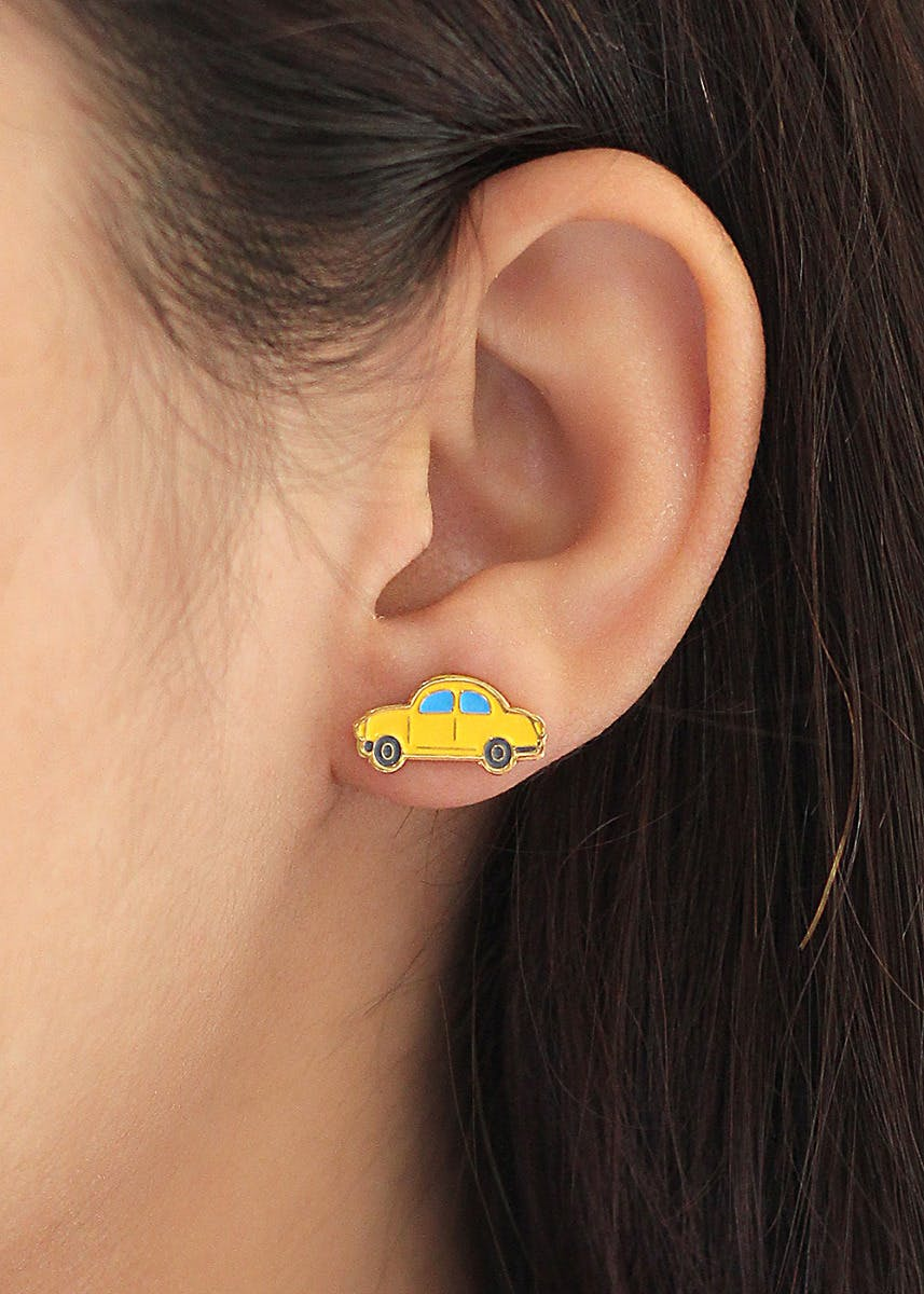 Gold Plated Yellow Taxi Studs