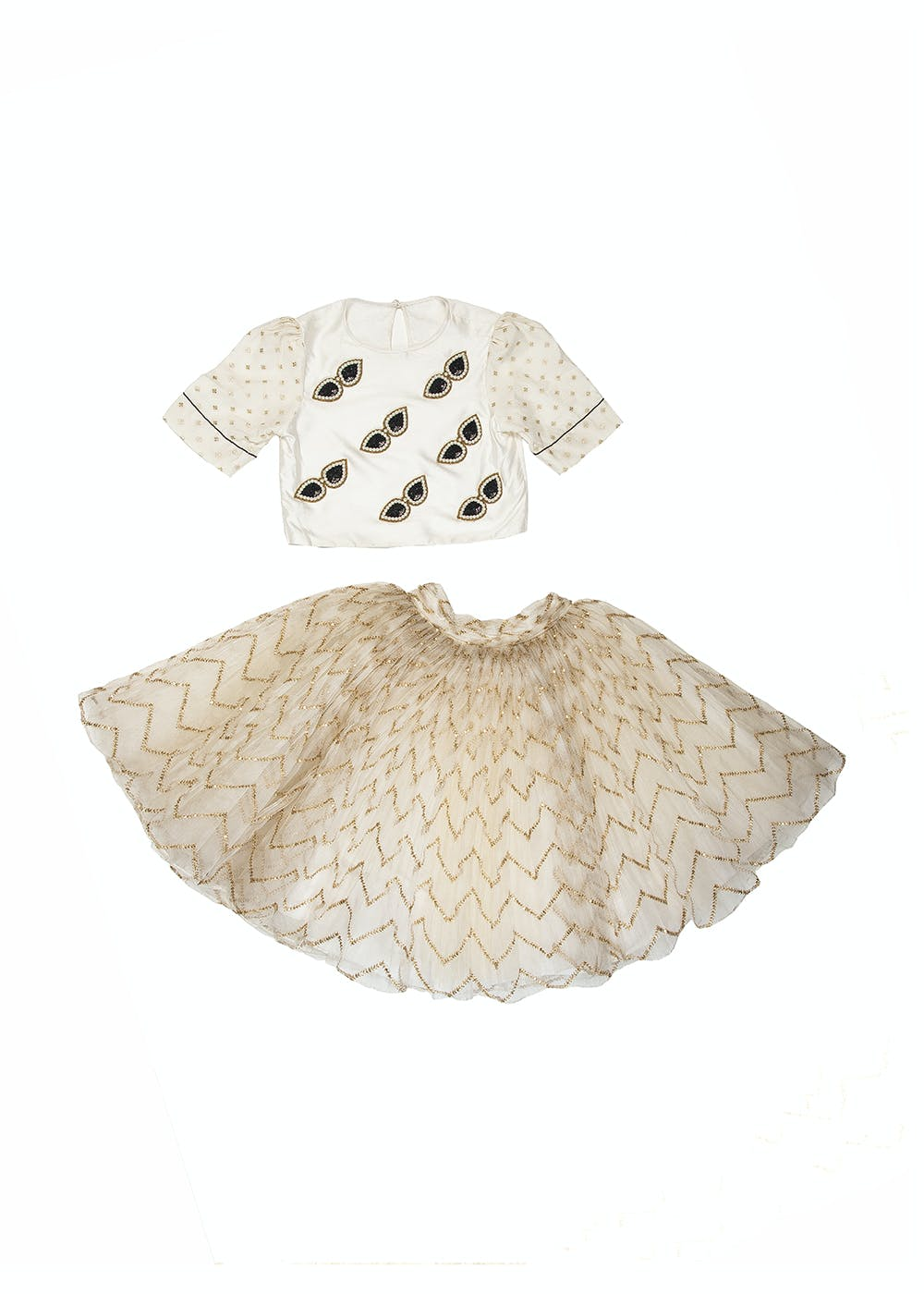 Sunglasses Embellished Top With Chevron Printed Skirt Set