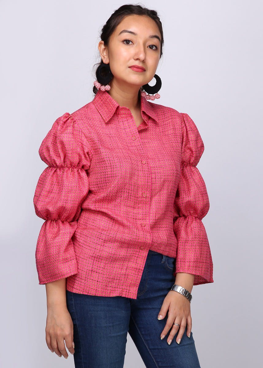 Bell-Sleeved Pink Checked Shirt