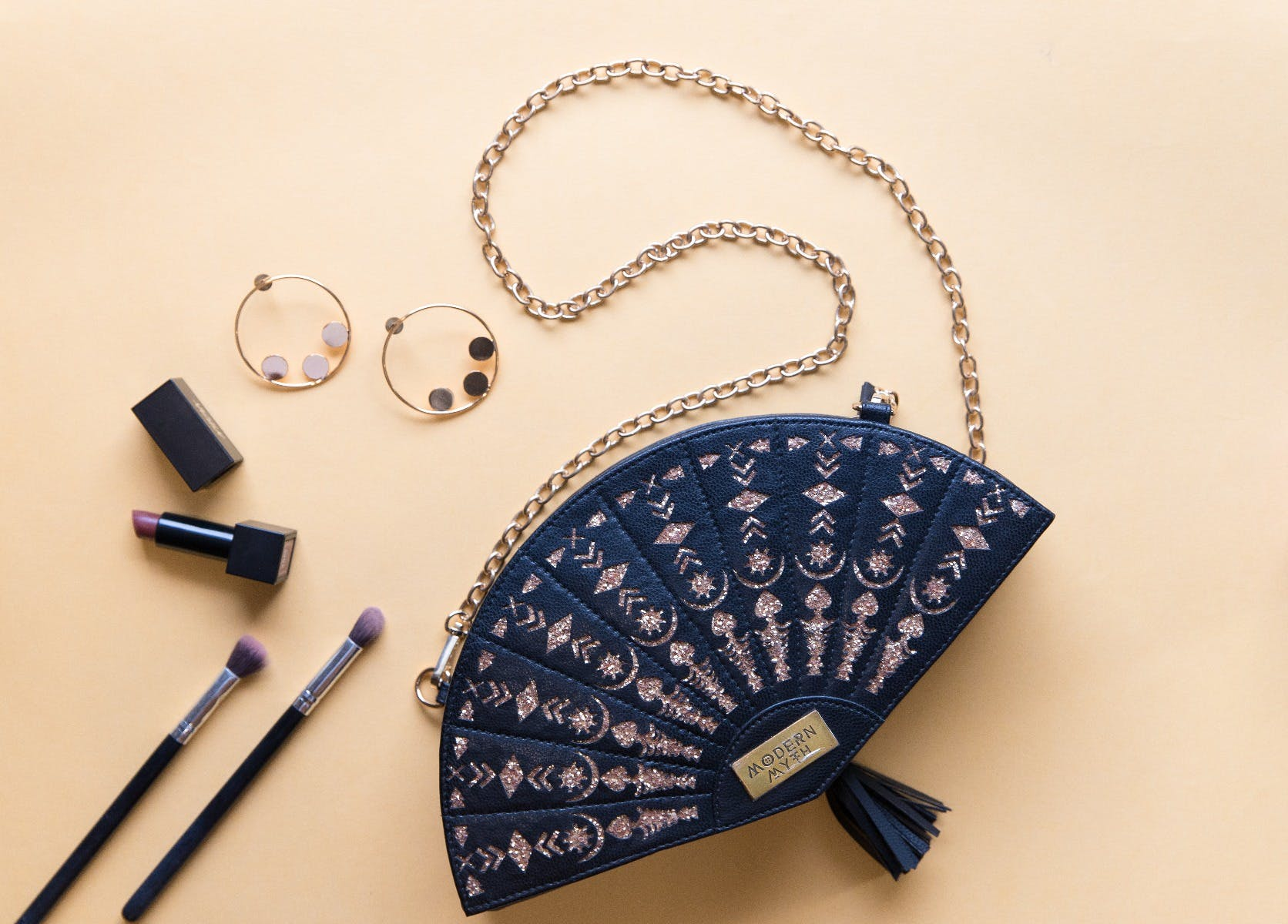 Handcrafted Cut-Out Detail Black Fan Bag