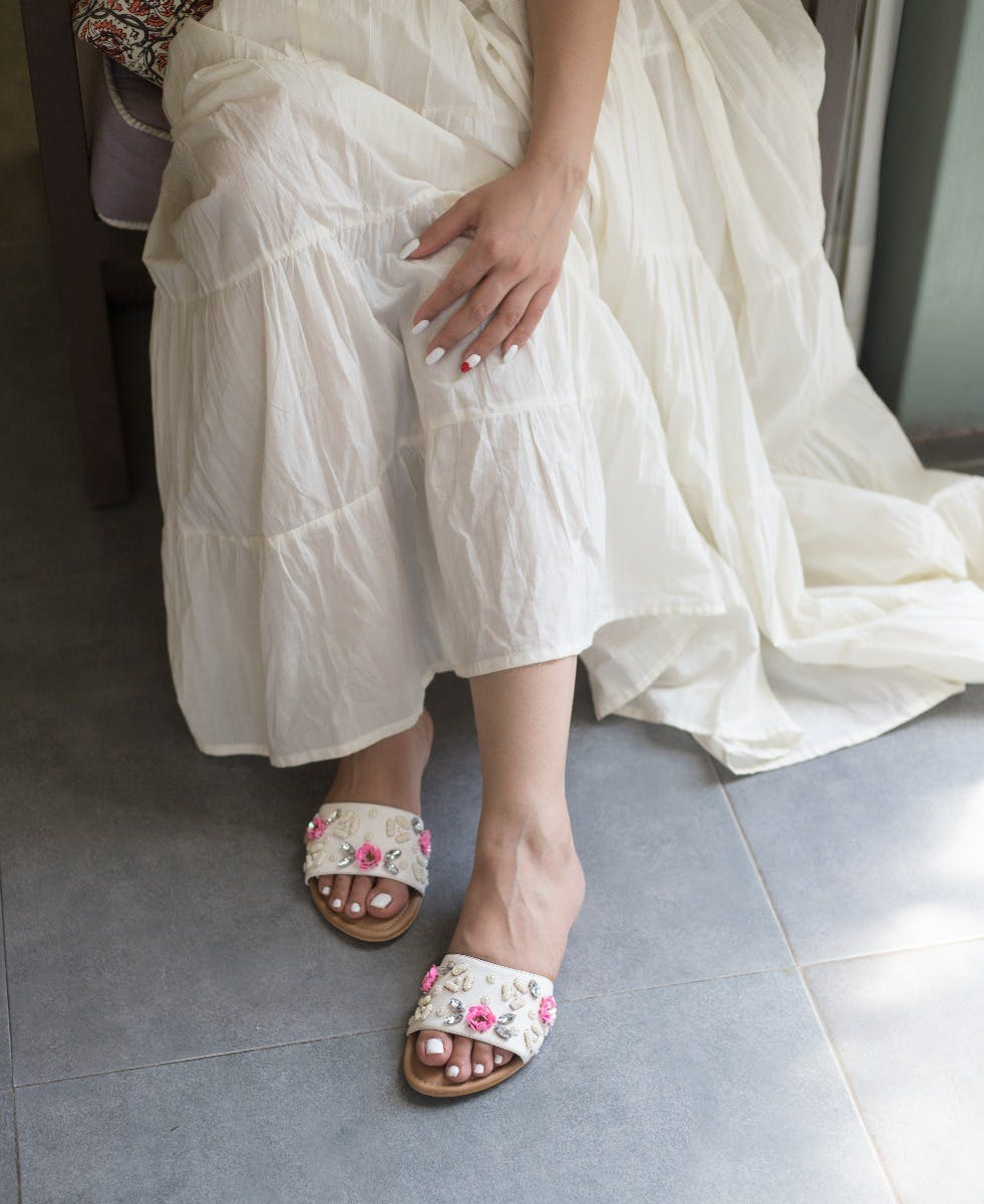 Clear Crystal Floral Beaded Slides