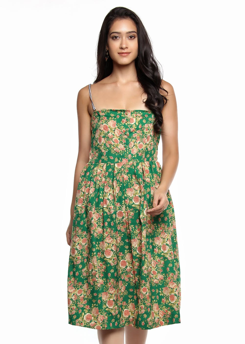 Green Floral Printed Pleated Yoke Detail Empire Dress