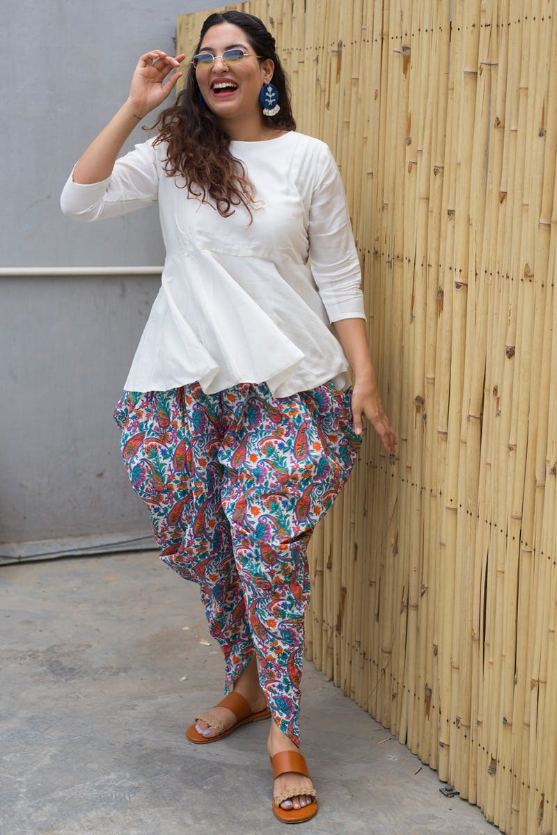 Peplum Top & Printed Dhoti Pants Set