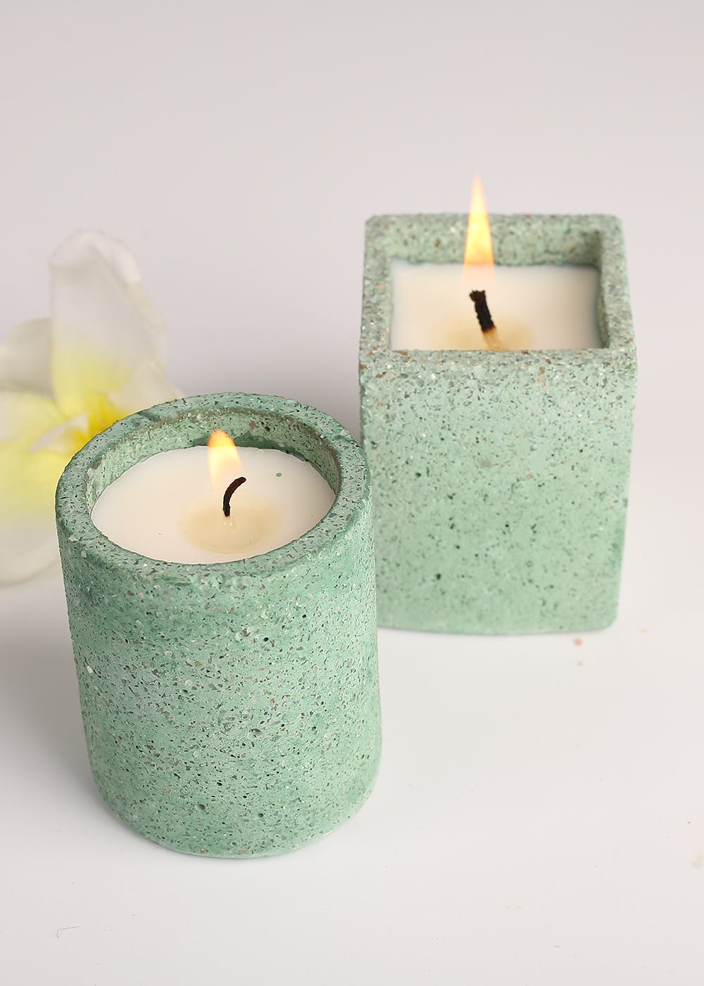 Concrete Candle - Set Of 2 - Green