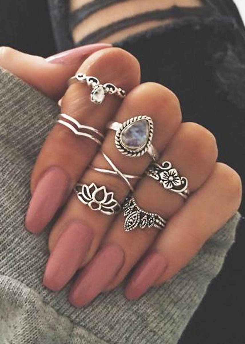 Silver-Toned Midi Rings Stack (Set of 7)