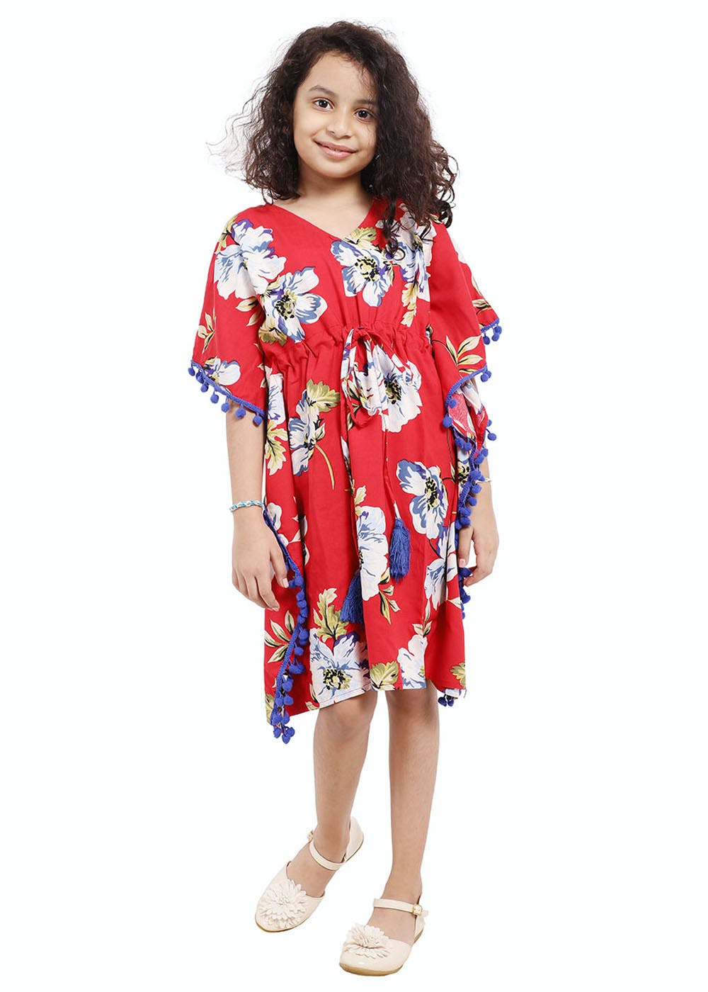 Floral Kaftan Dress with Pom Pom Lace and Tassels - Red