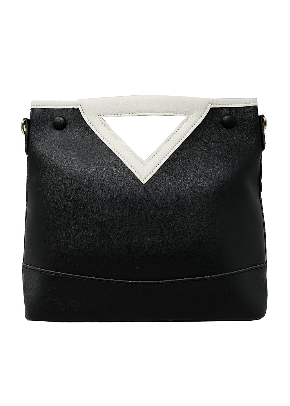Solid Vegan Triangle Cut Out Hand Held Bag - Black