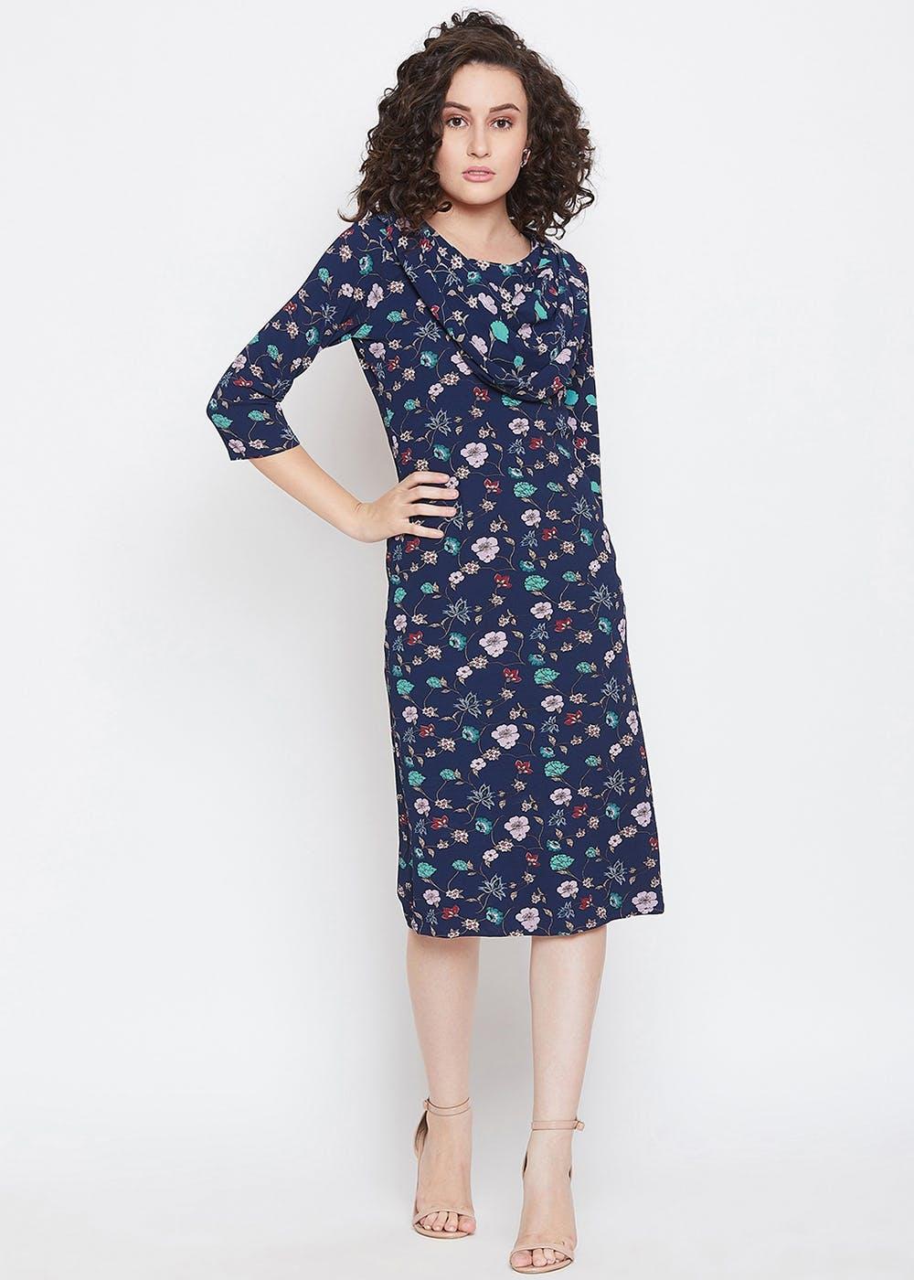 Cowl Neck Detail Floral Printed Blue Bodycon Dress