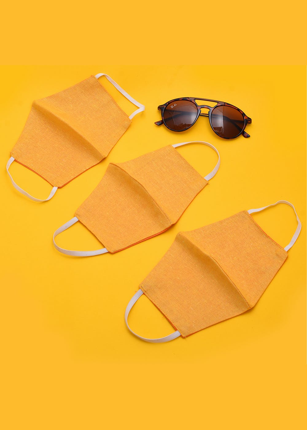 Unisex Reversible Face Mask Yellow Combo (Pack of 3)