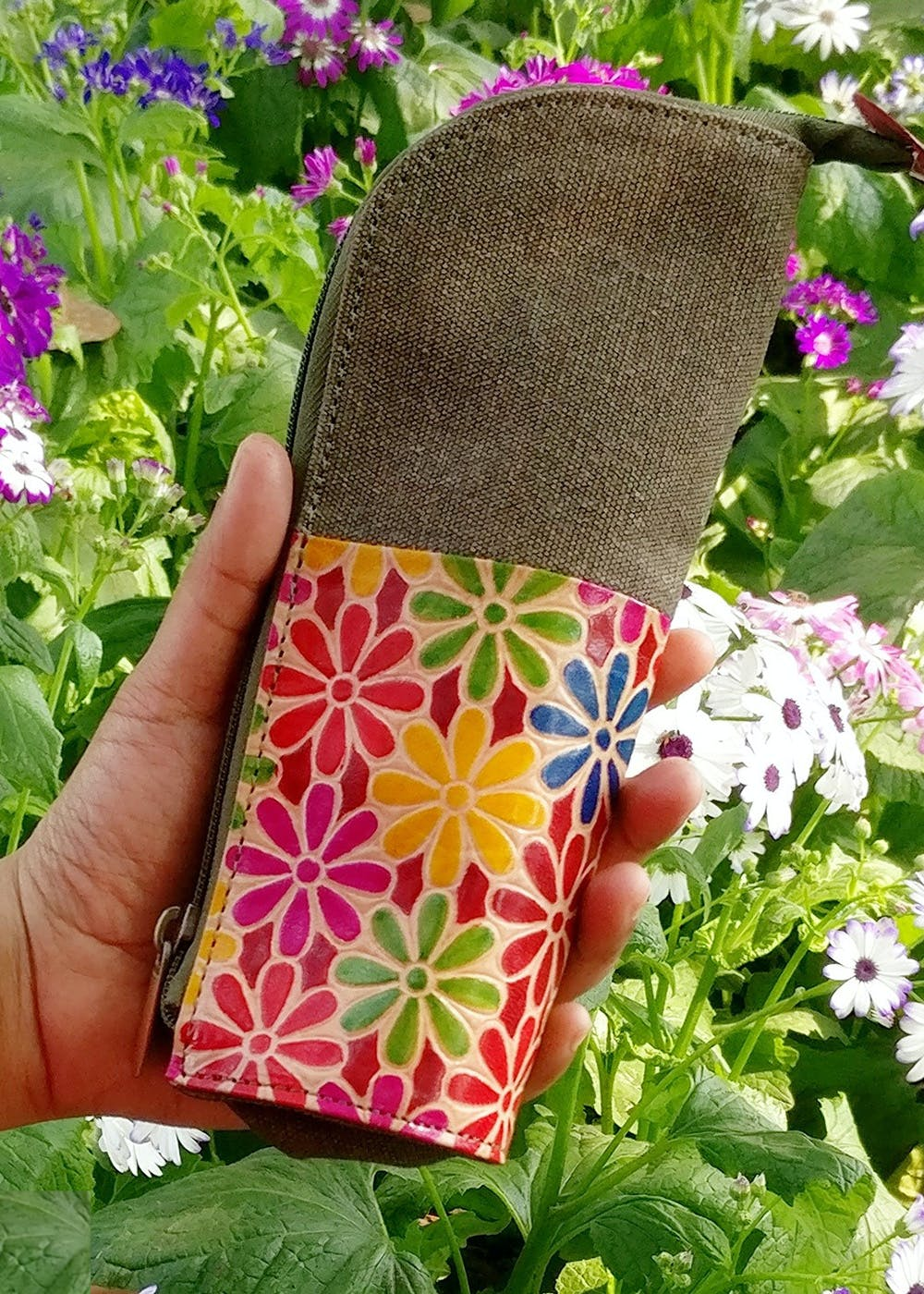 Floral Designed WFH Organiser cum Pen Stand (Leather and Canvas)