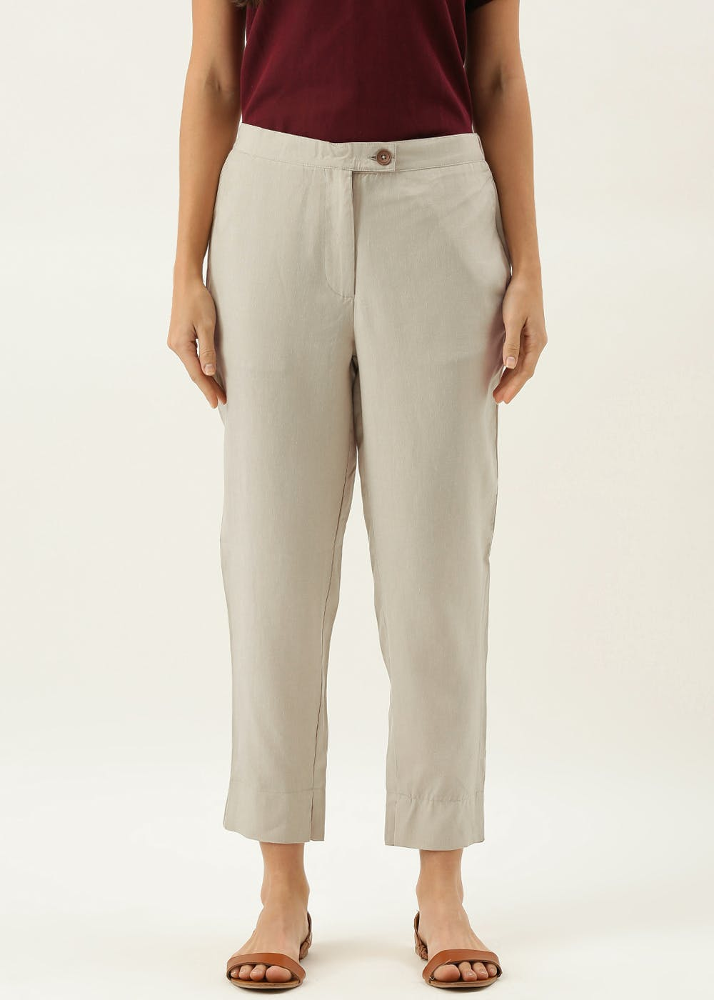Basic Solid Lyocell Straight Fit Trouser