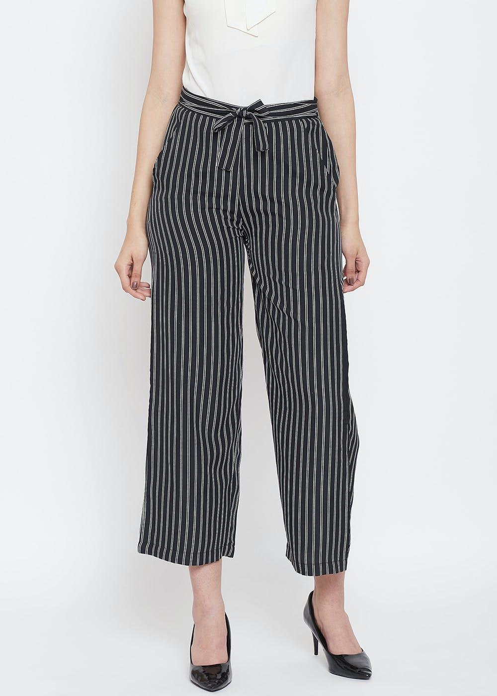 Waist Tie Detail Monochrome Striped Flared Trousers
