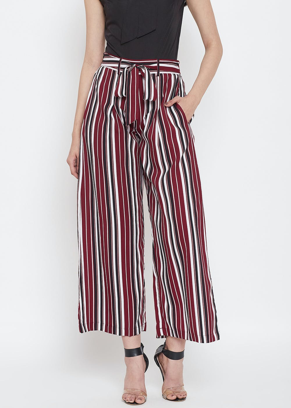 Waist Tie Detail Red & Black Striped Flared Trousers