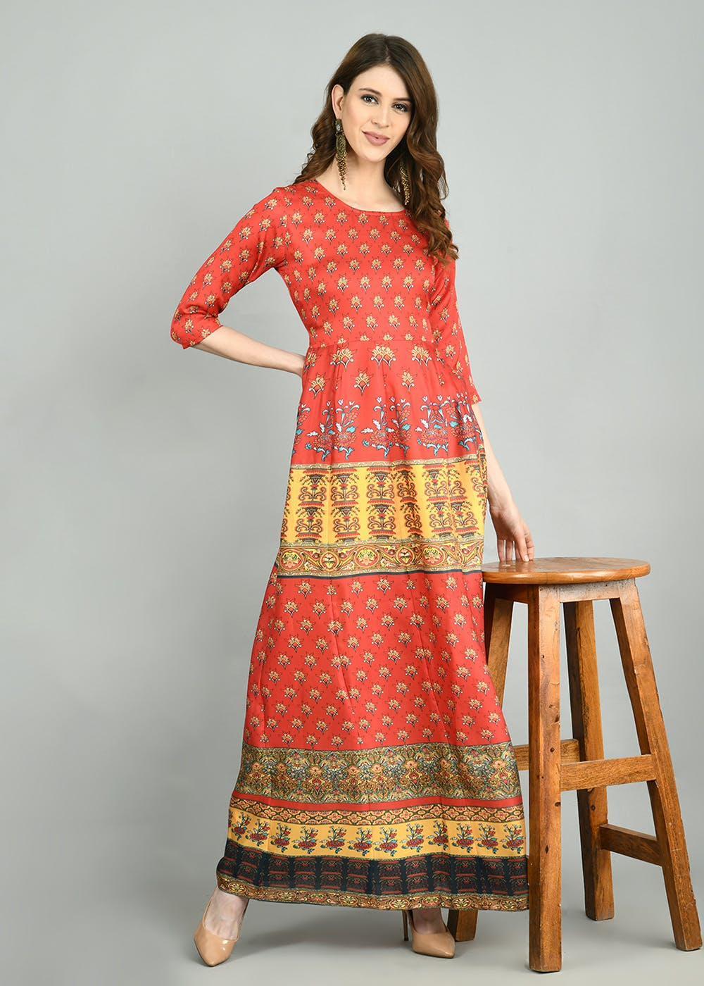 Contrast Panel Printed Red Round Neck Ethnic Dress