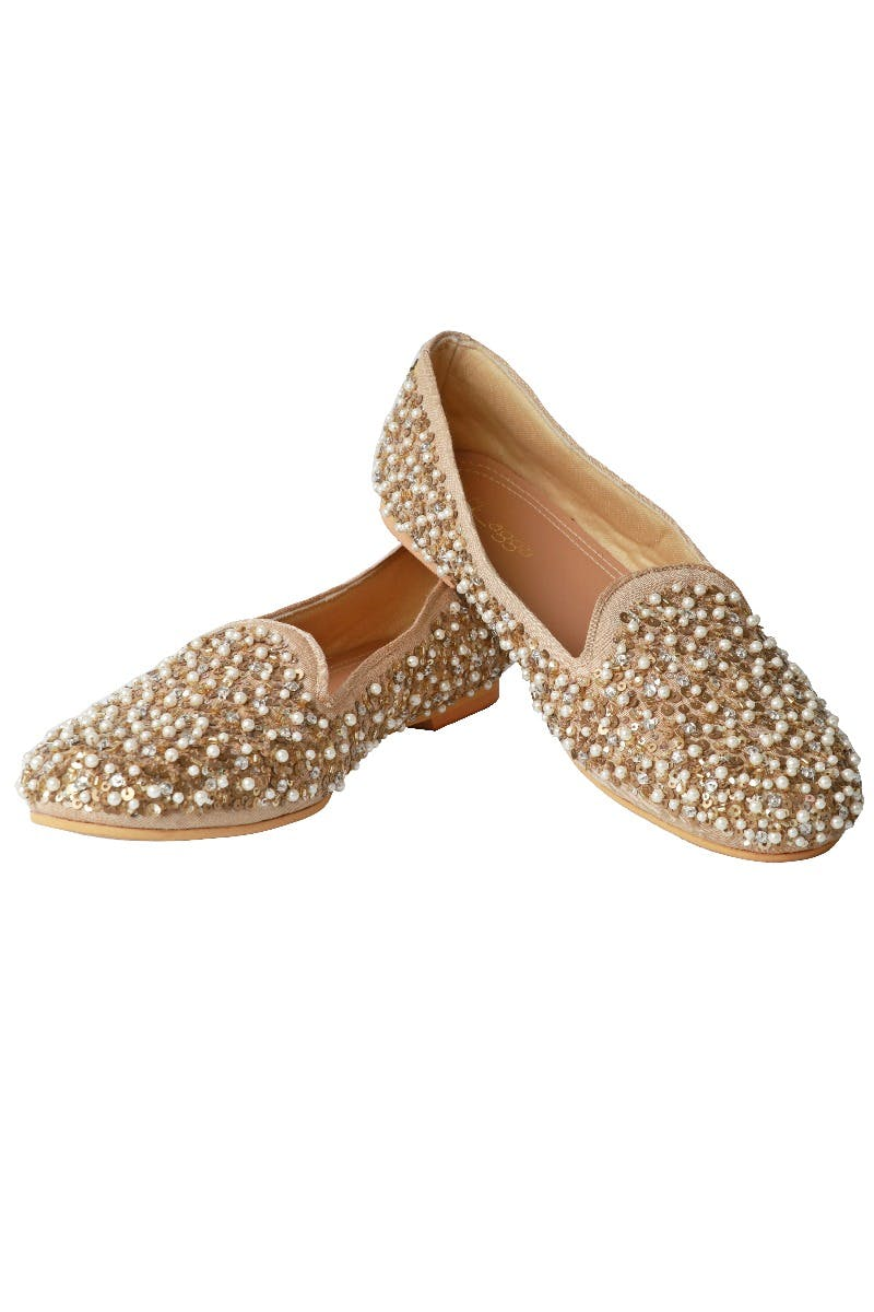 Pearl & Gold Sequinned Moccasins