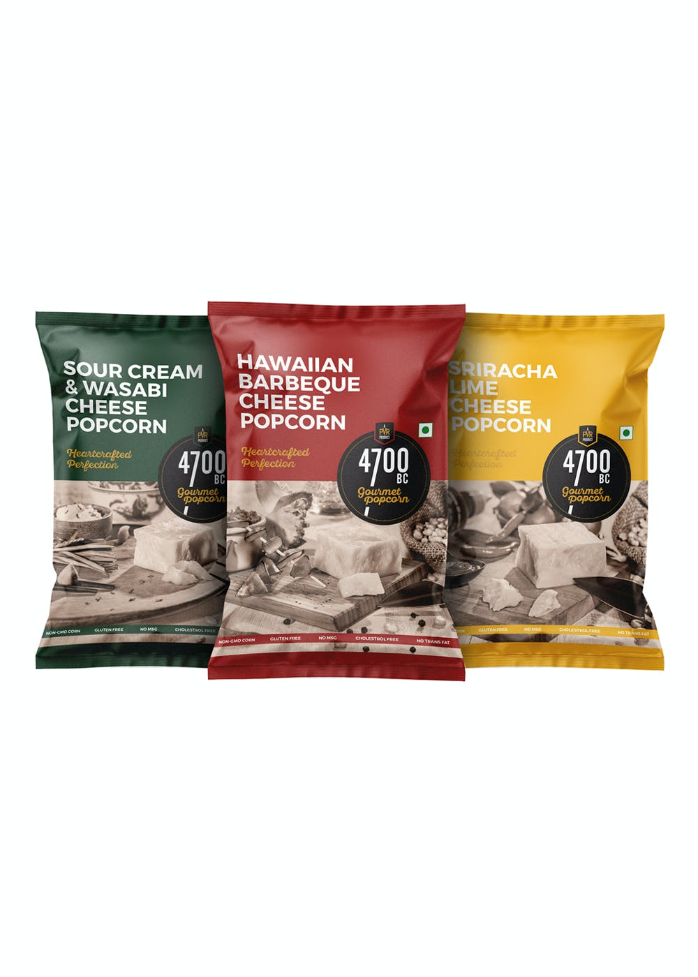 Combo Pouches - Pack of 3- Sour Cream and Wasabi Cheese, Hawaiian BBQ Cheese, Sriracha Lime Cheese