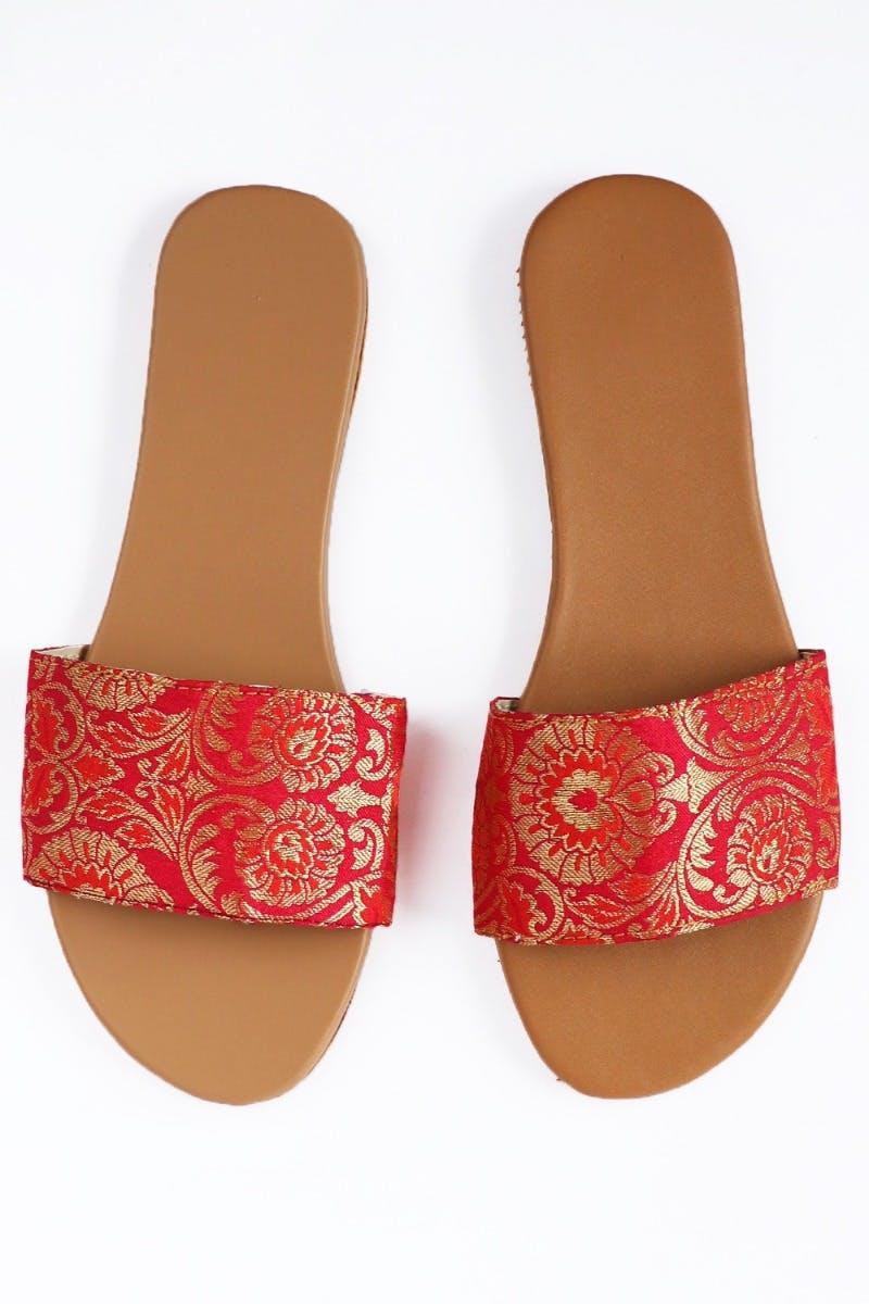 Coral Zari Paisley Slides