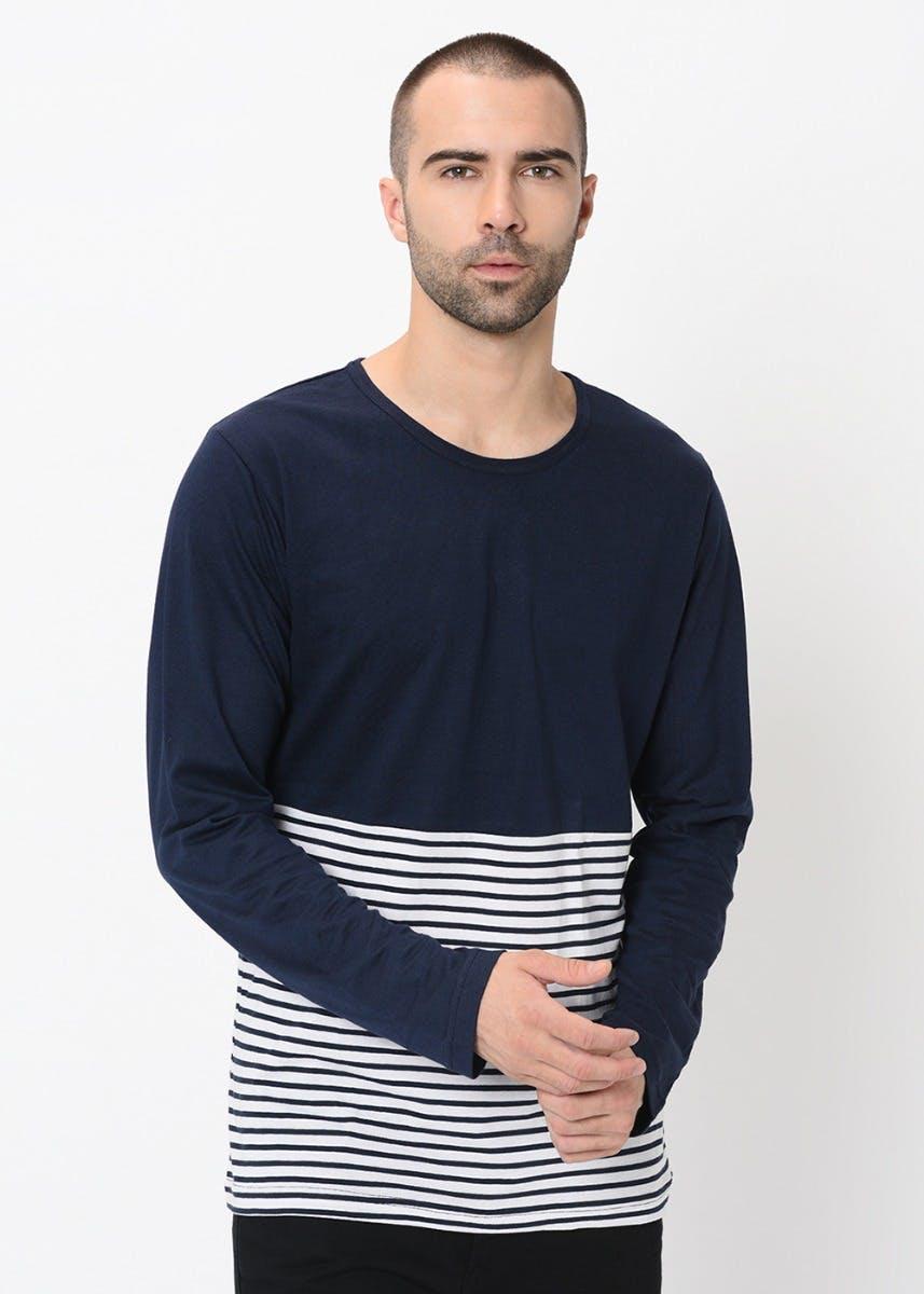 Stripes & Solid Cut & Sew T-Shirt